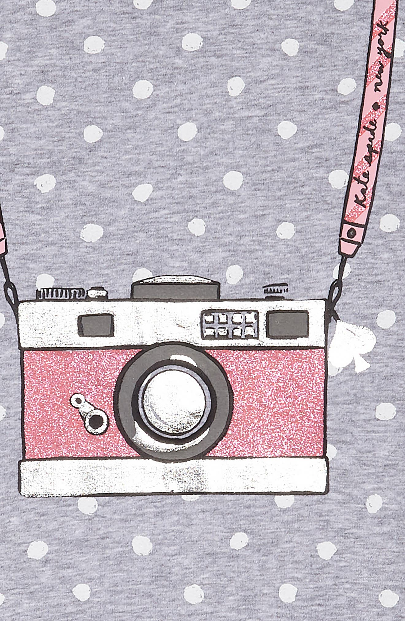 camera polka dot dress,                             Alternate thumbnail 3, color,                             Heather Grey