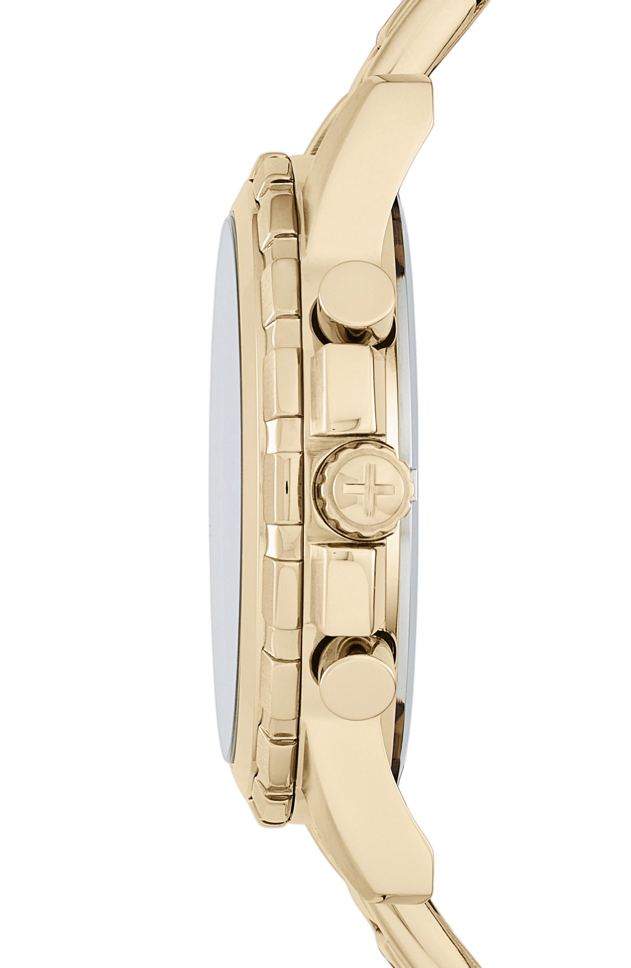 Notched Bezel Chronograph Bracelet Watch, 45mm,                             Alternate thumbnail 3, color,                             Gold