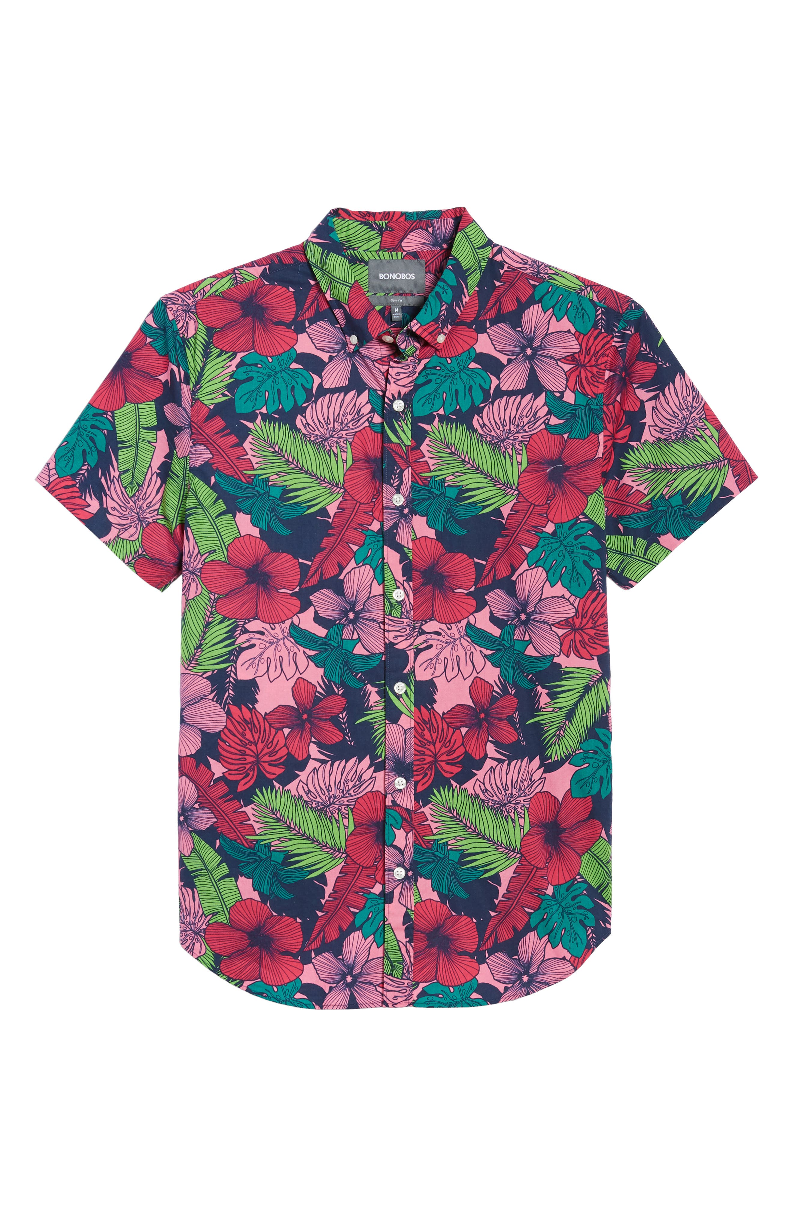Slim Fit Floral Print Sport Shirt,                             Alternate thumbnail 6, color,                             Garden Cove - Pink Rocket