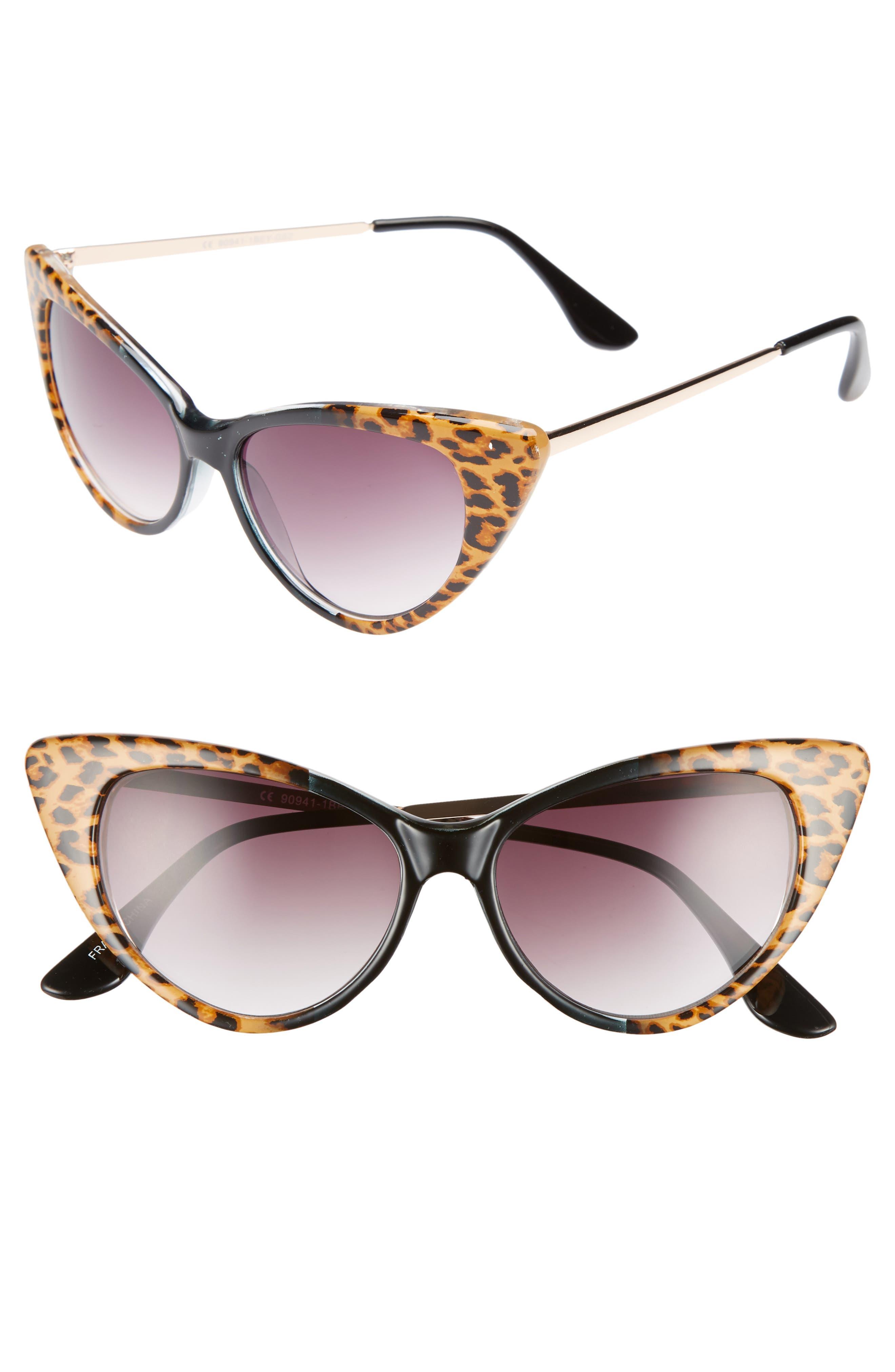 62mm Leopard Print Cat Eye Sunglasses,                         Main,                         color, Leopard/ Black