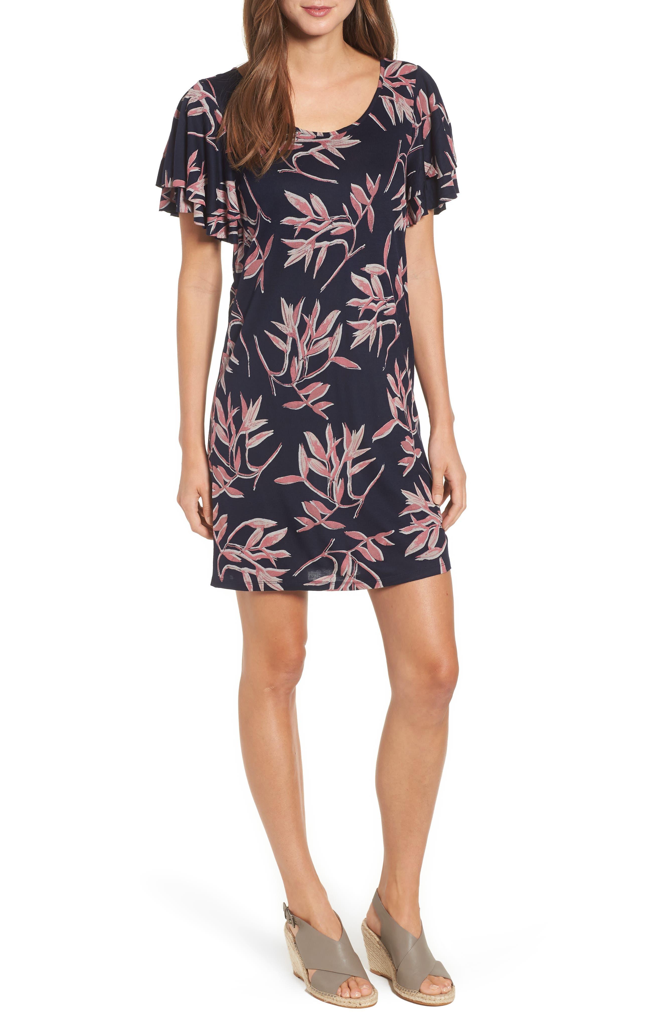 Printed Ruffle Sleeve Dress,                         Main,                         color, Pink Multi