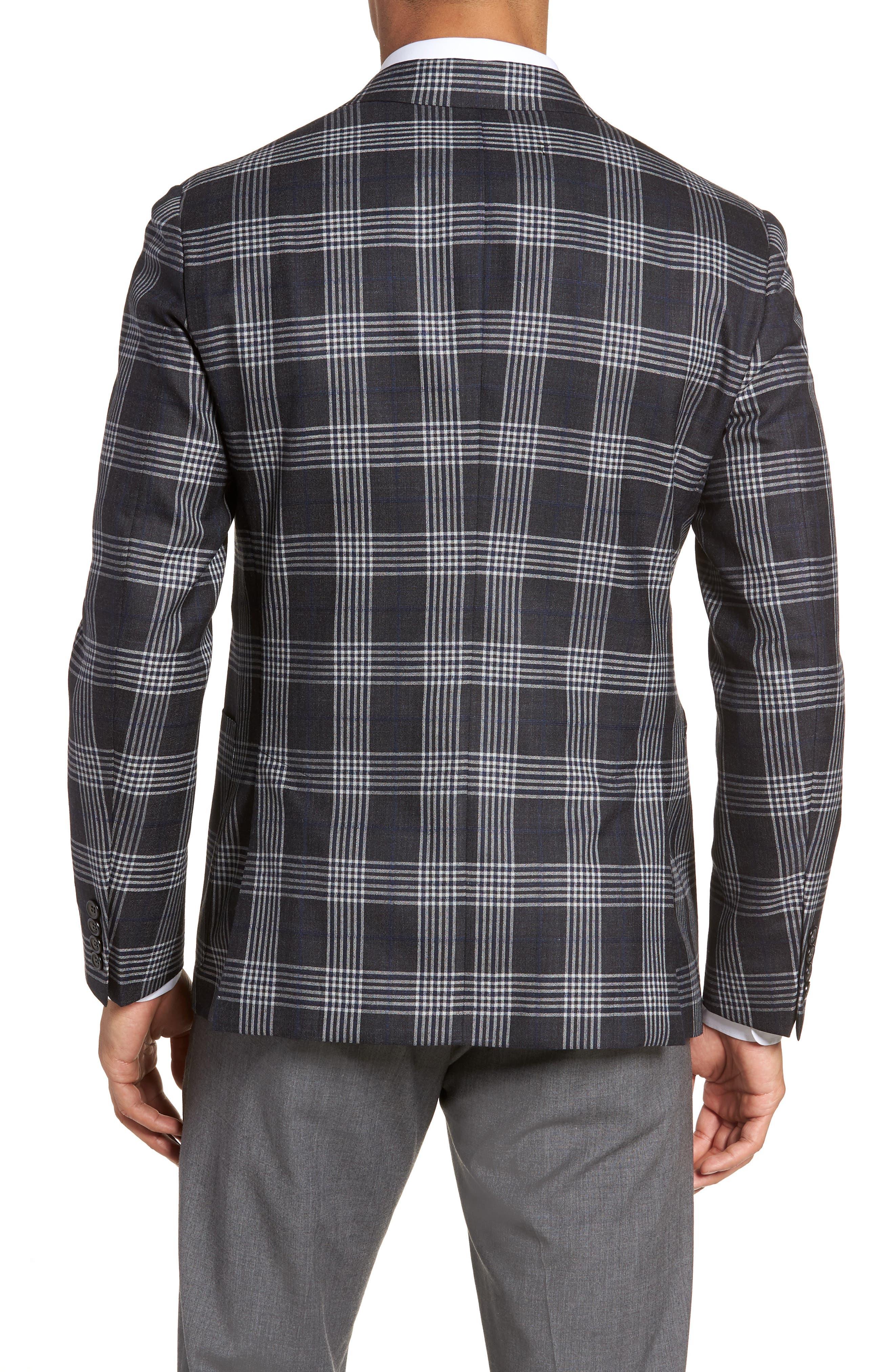 Modern Fit Plaid Wool & Silk Sport Coat,                             Alternate thumbnail 2, color,                             Charcoal