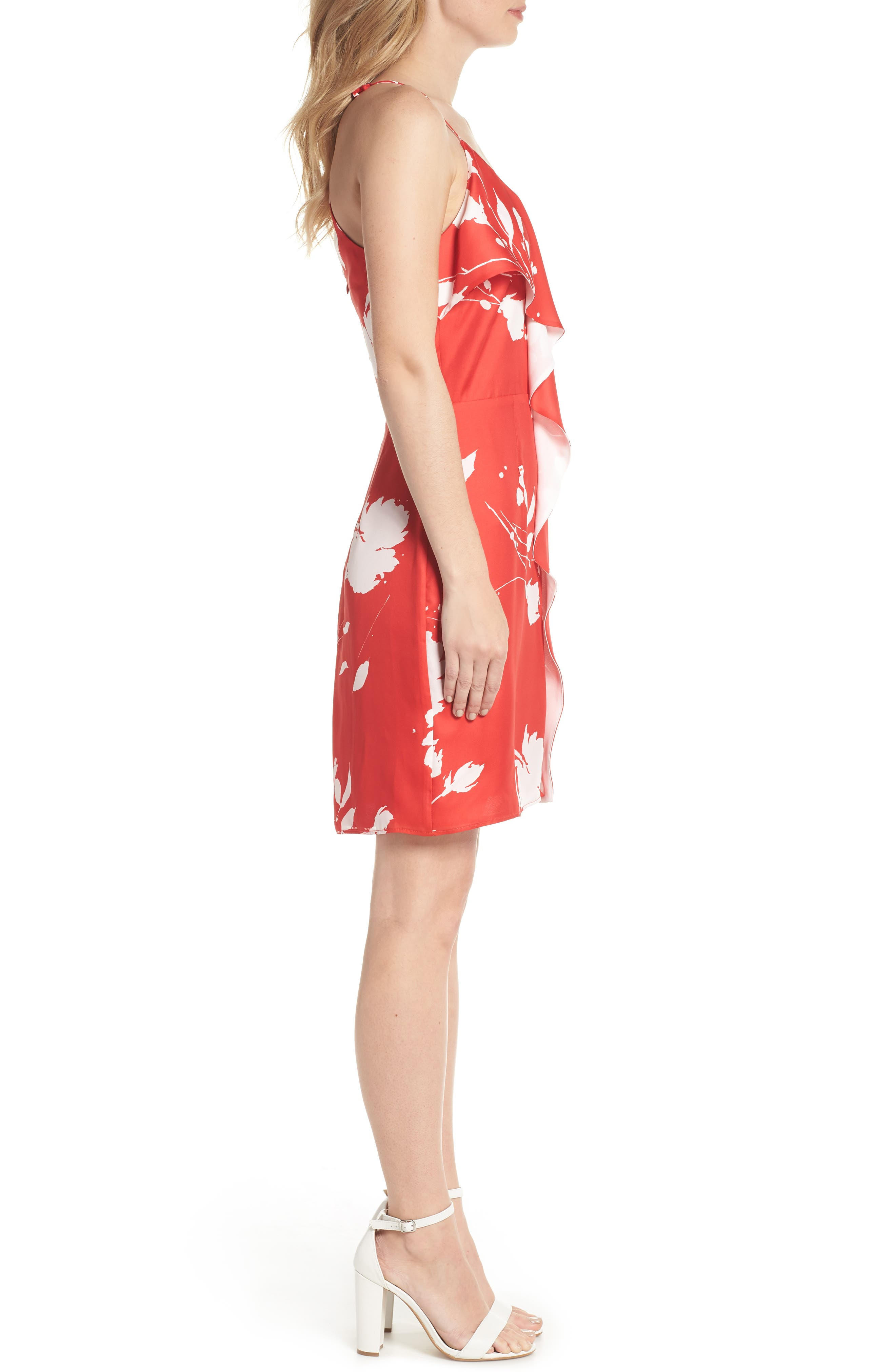Floral Ruffle Front Sheath Dress,                             Alternate thumbnail 3, color,                             Red White Poppy