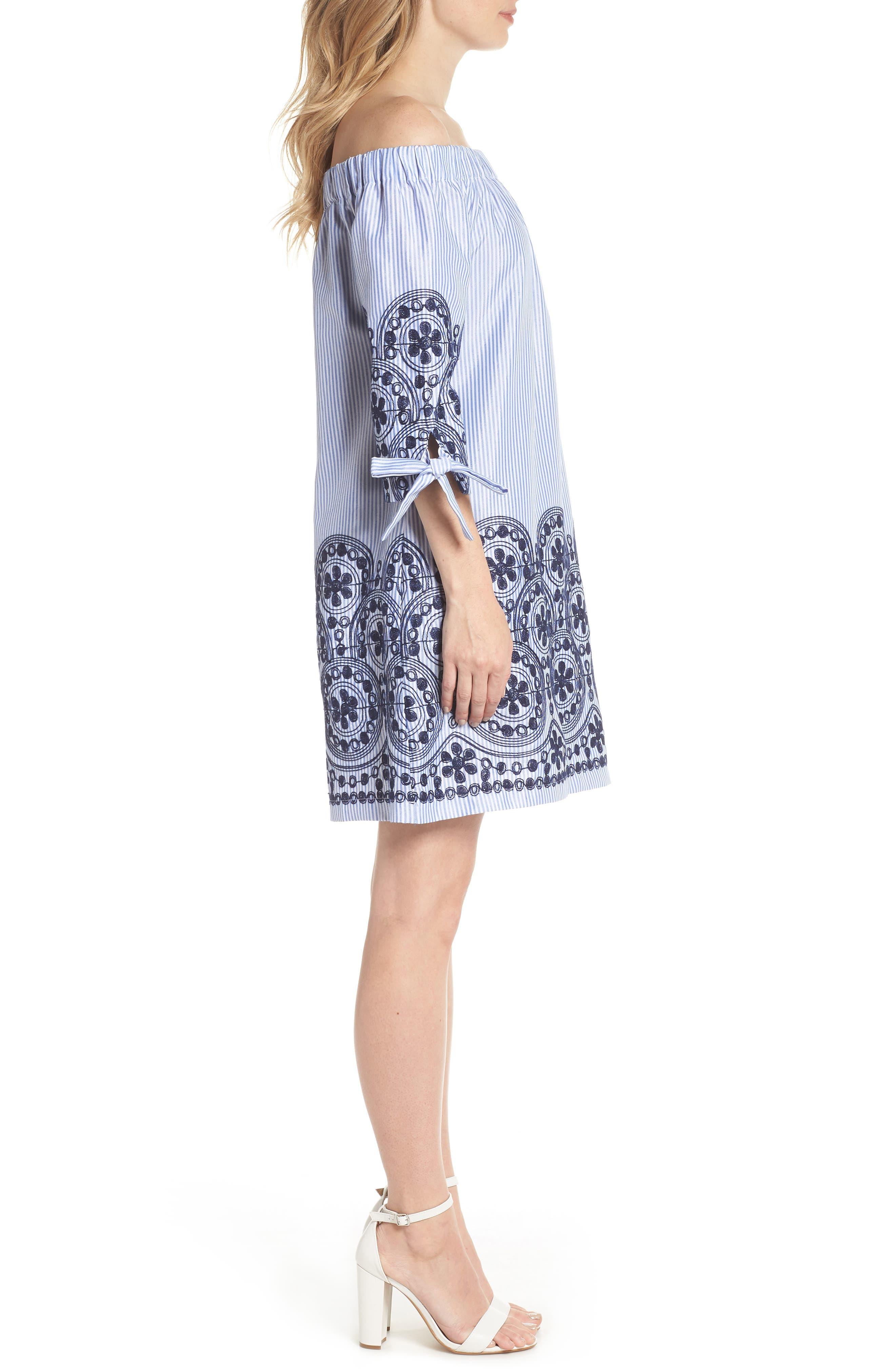 Off the Shoulder Stripe Embroidered Shift Dress,                             Alternate thumbnail 3, color,                             Navy Multi