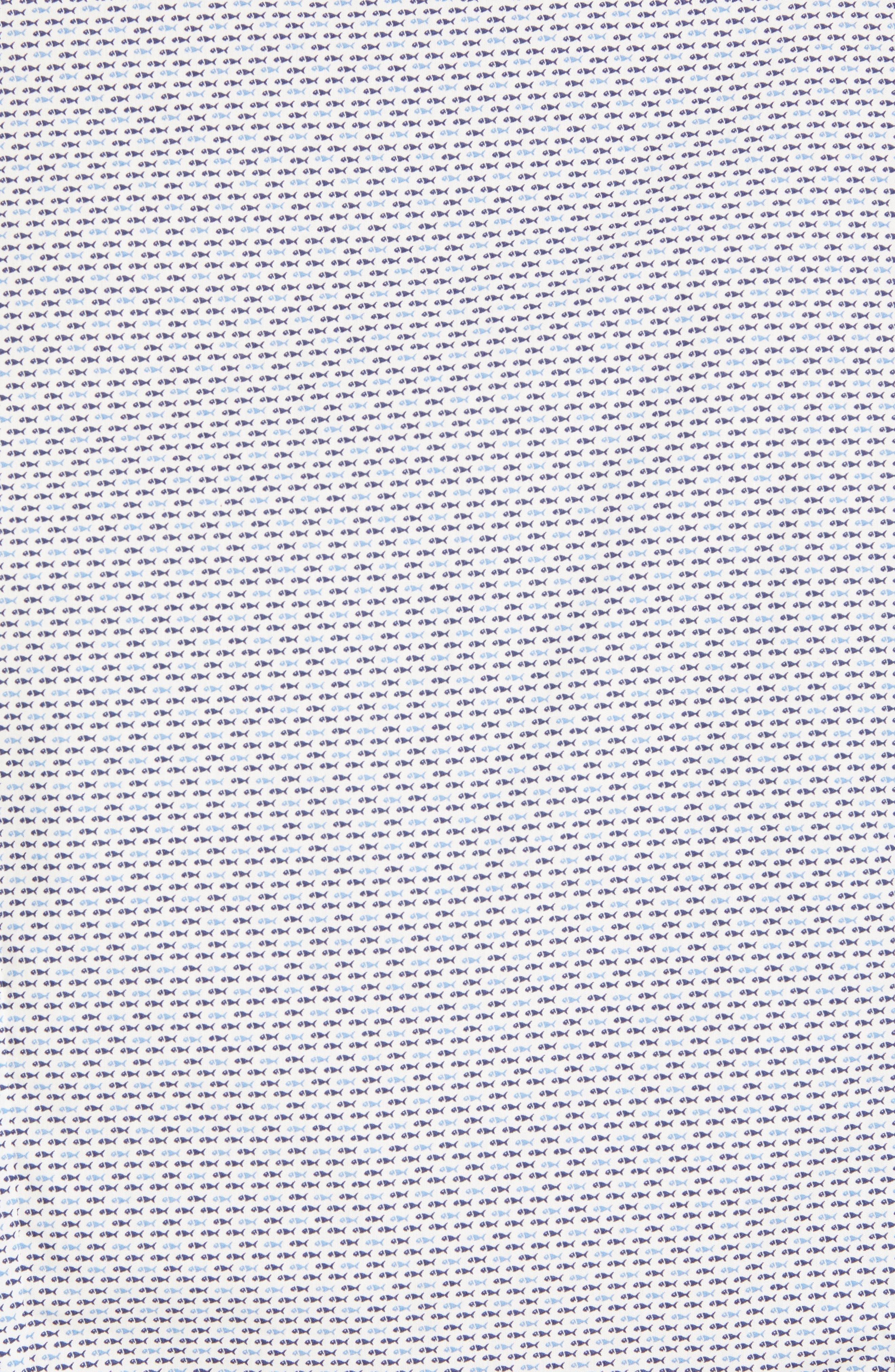 Trim Fit Fish Print Sport Shirt,                             Alternate thumbnail 5, color,                             White