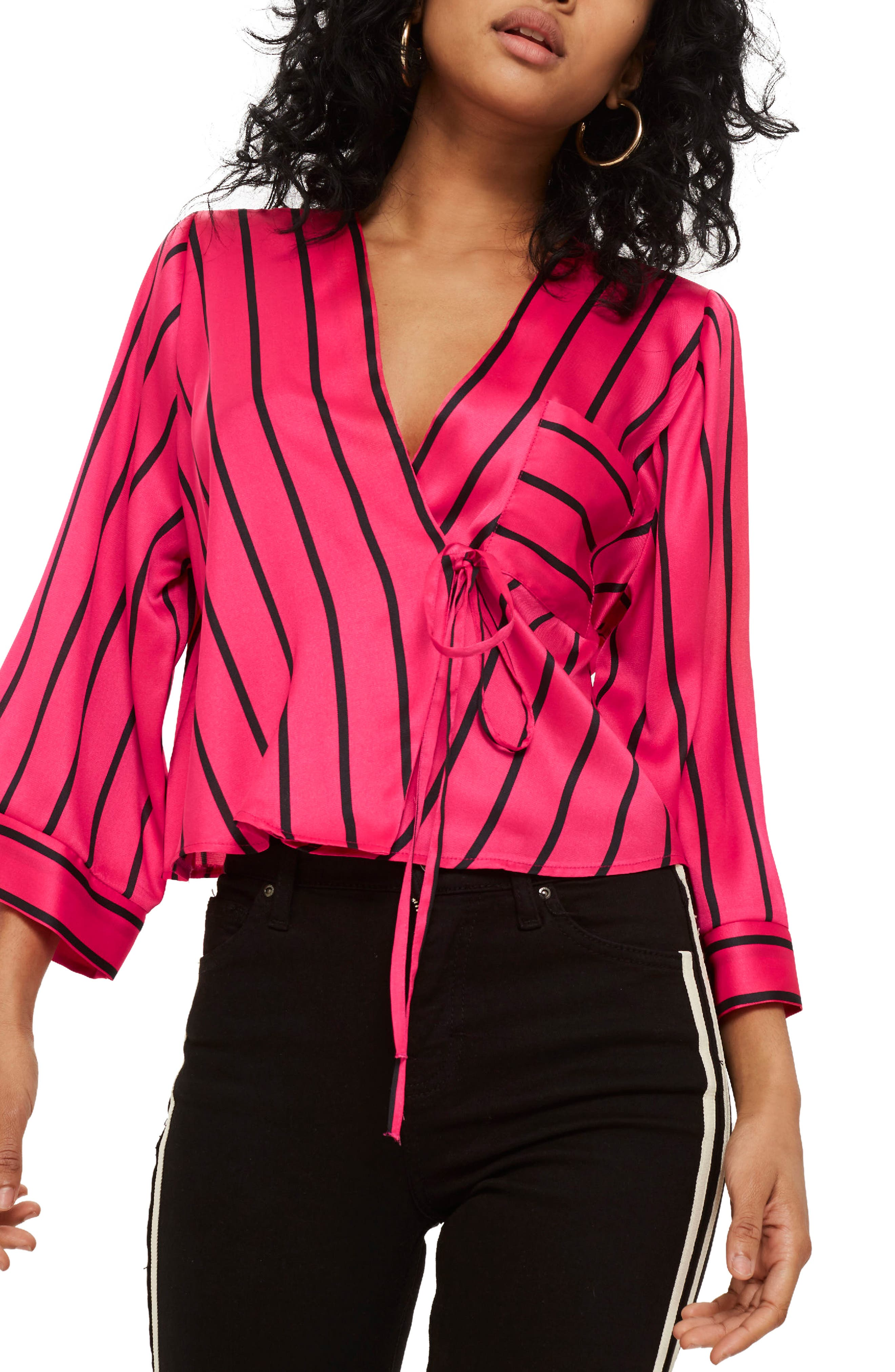 Stripe Tie Wrap Kimono Top,                             Main thumbnail 1, color,                             Pink Multi