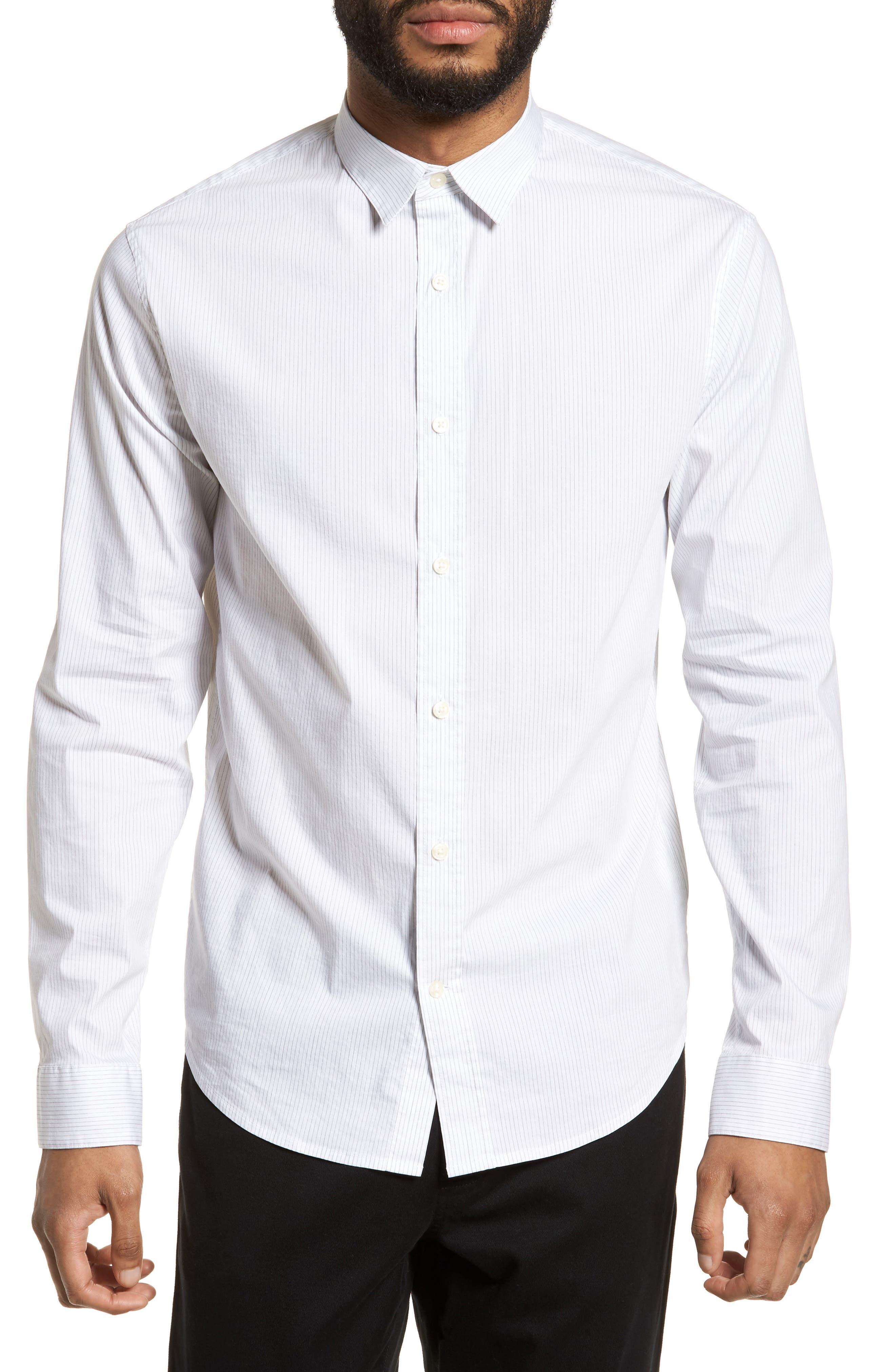 Regular Fit Stretch Stripe Sport Shirt,                         Main,                         color, White
