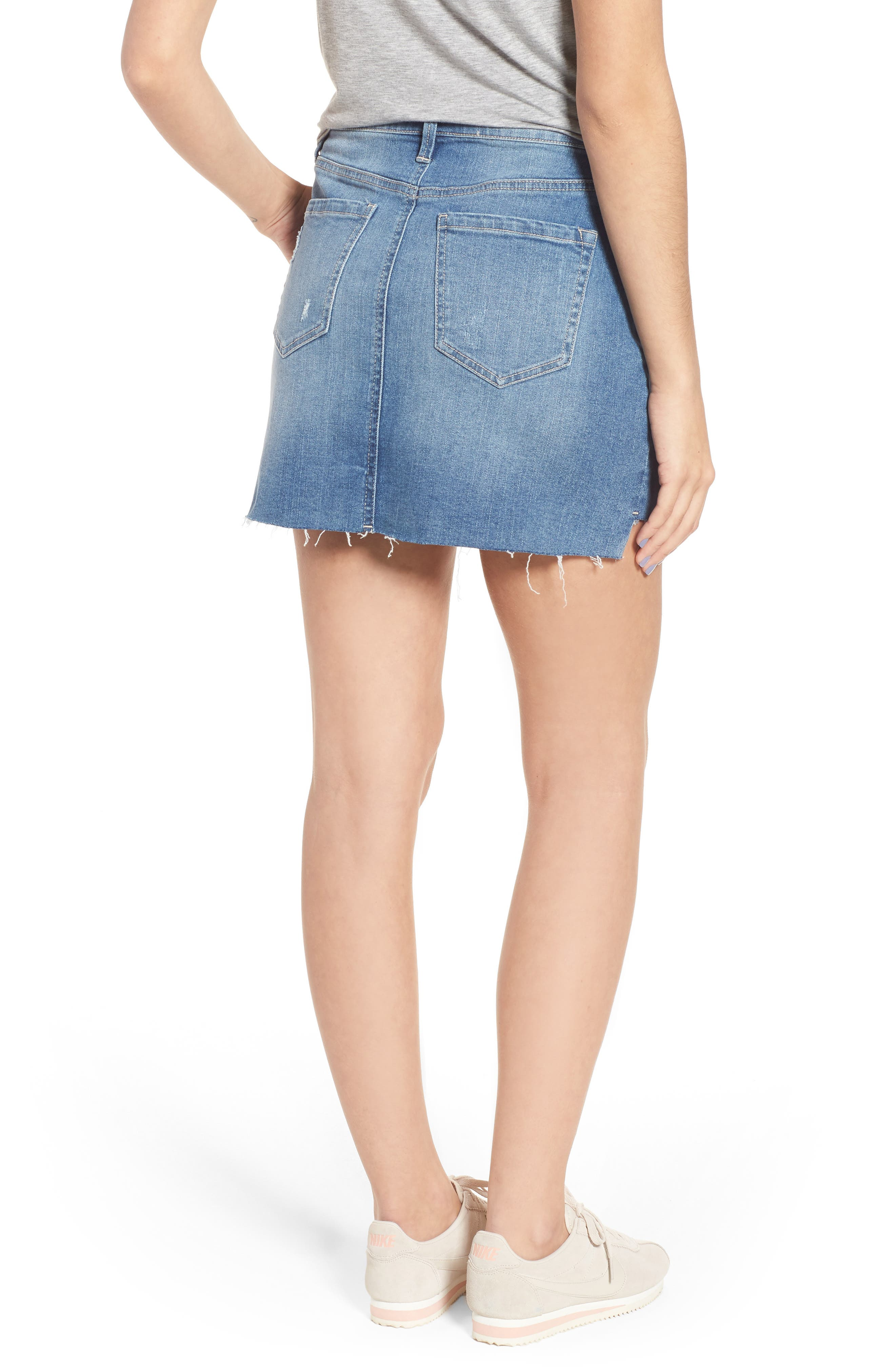 Embroidered Step Hem Denim Skirt,                             Alternate thumbnail 2, color,                             Light Wash