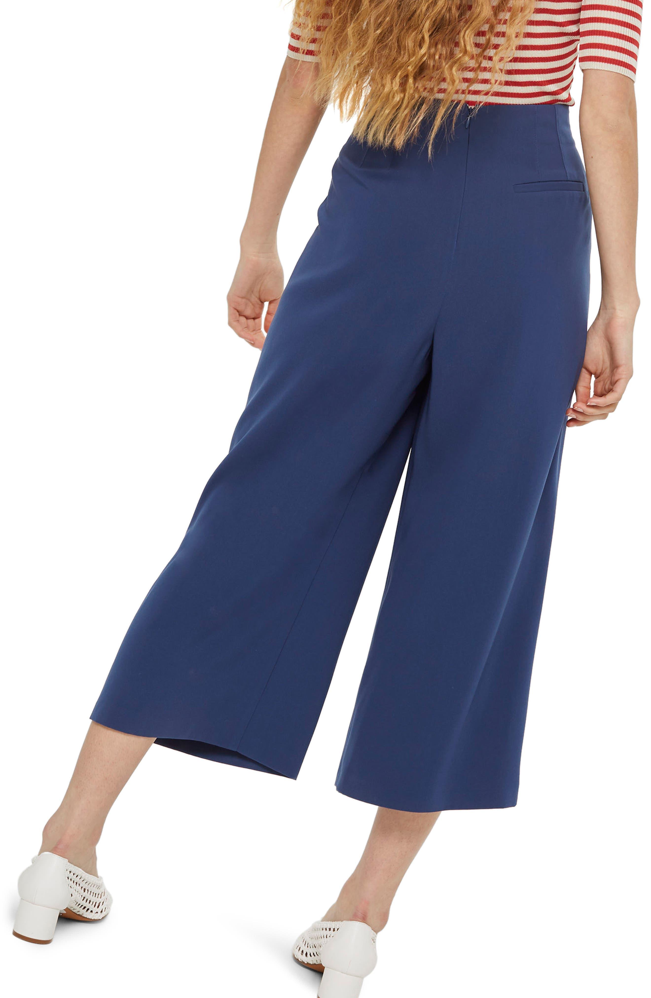 Ivy Crop Wide Leg Trousers,                             Alternate thumbnail 2, color,                             Navy Blue