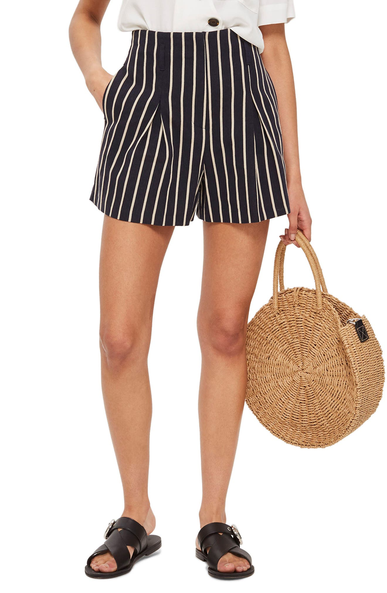 Stripe Shorts,                         Main,                         color, Navy Blue