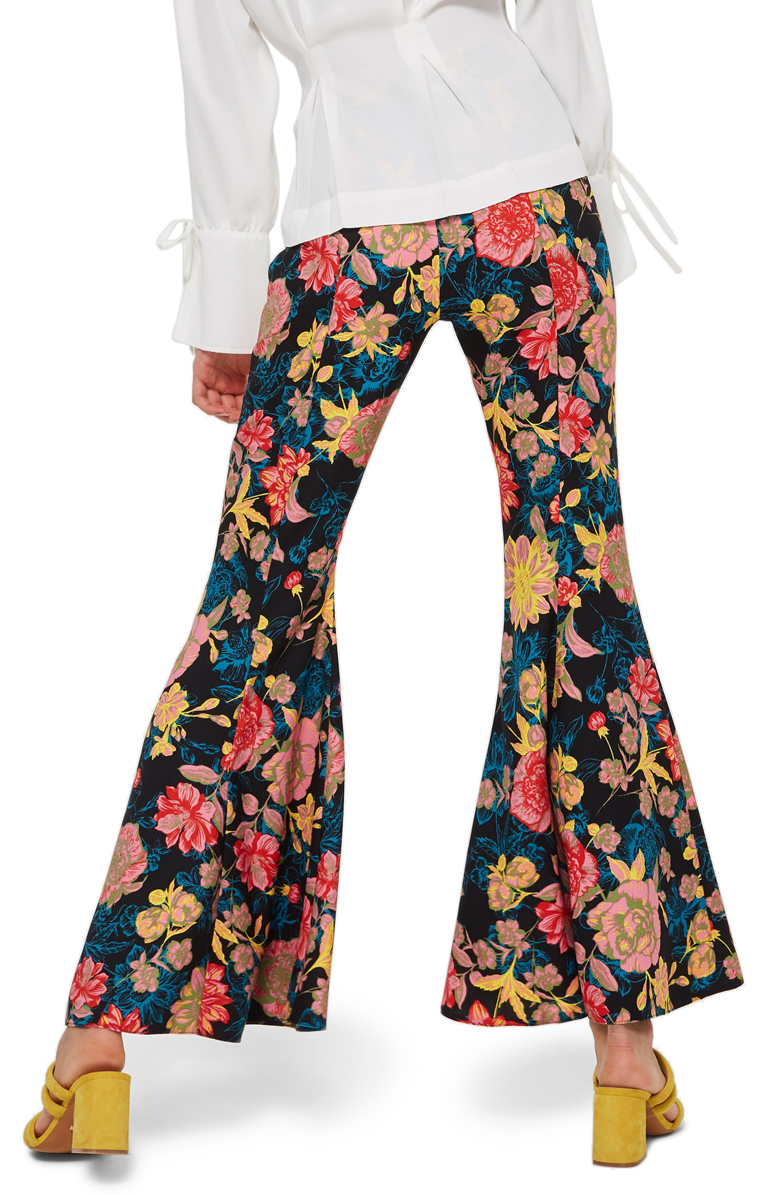 Alpha Floral Super Flare Trousers,                             Alternate thumbnail 2, color,                             Blue Multi