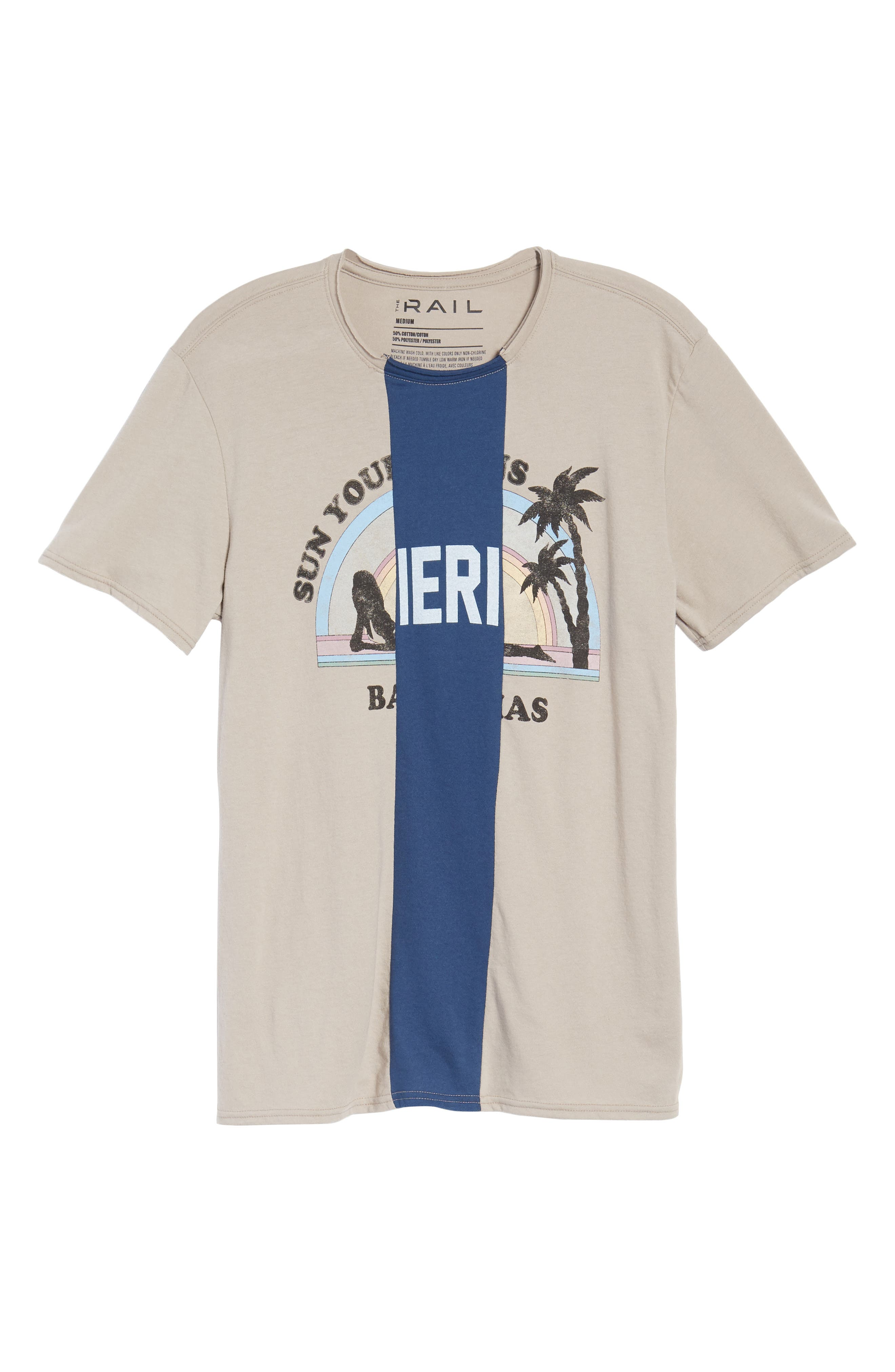 Tri-Splice T-Shirt,                             Alternate thumbnail 6, color,                             Beige Navy Sun Splice