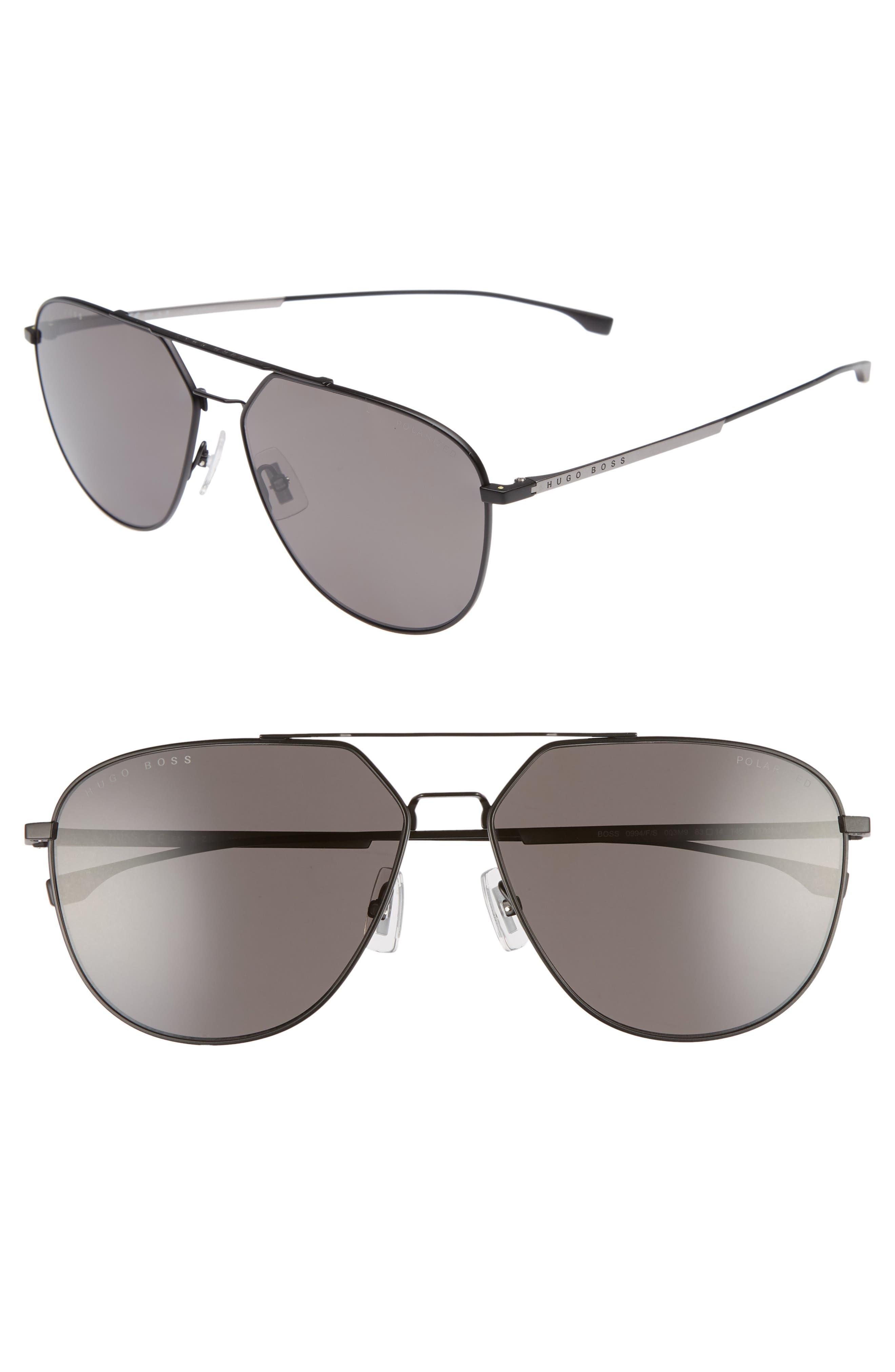 63mm Polarized Aviator Sunglasses,                         Main,                         color, Matte Black