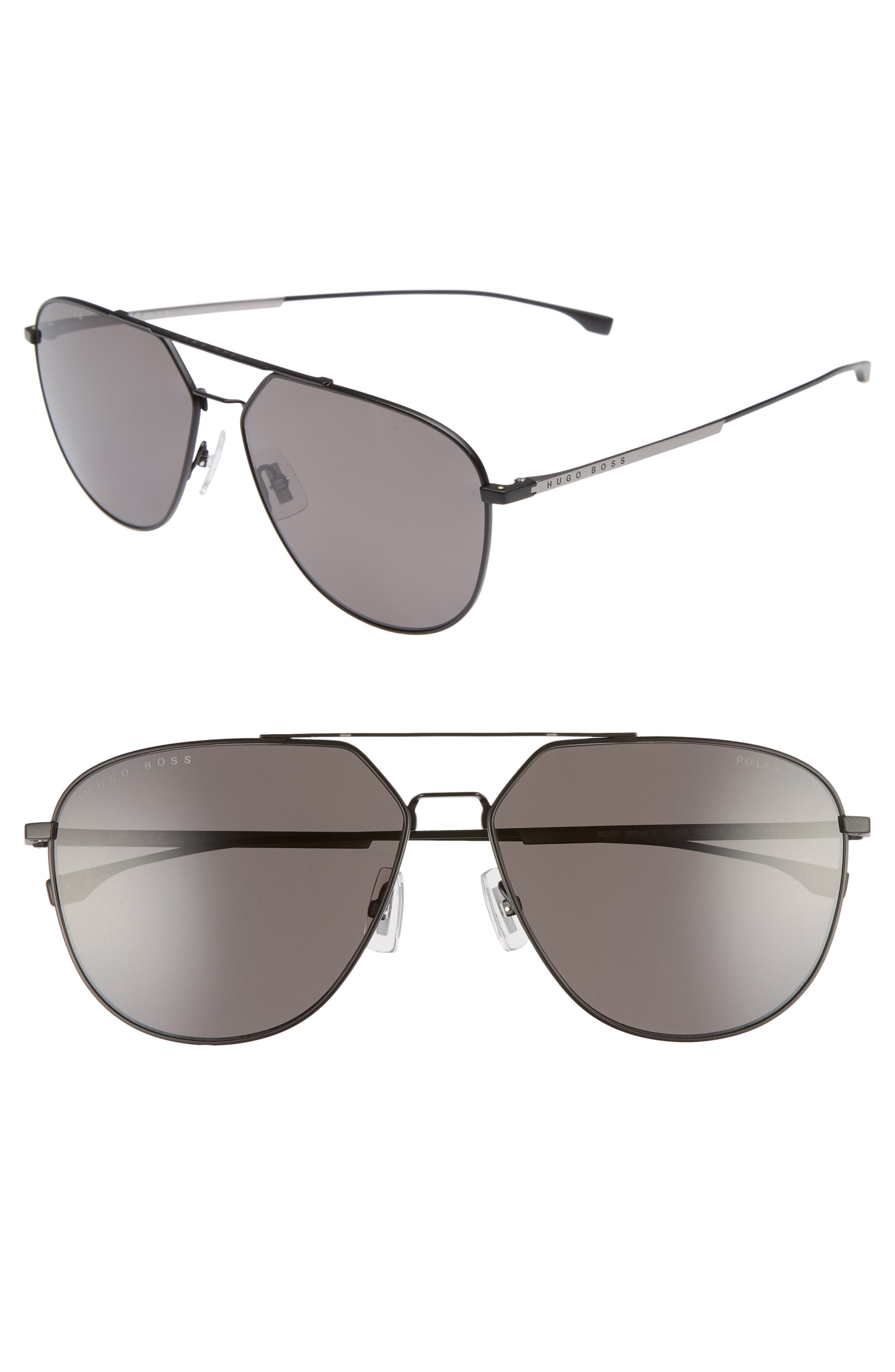 BOSS 63mm Polarized Aviator Sunglasses