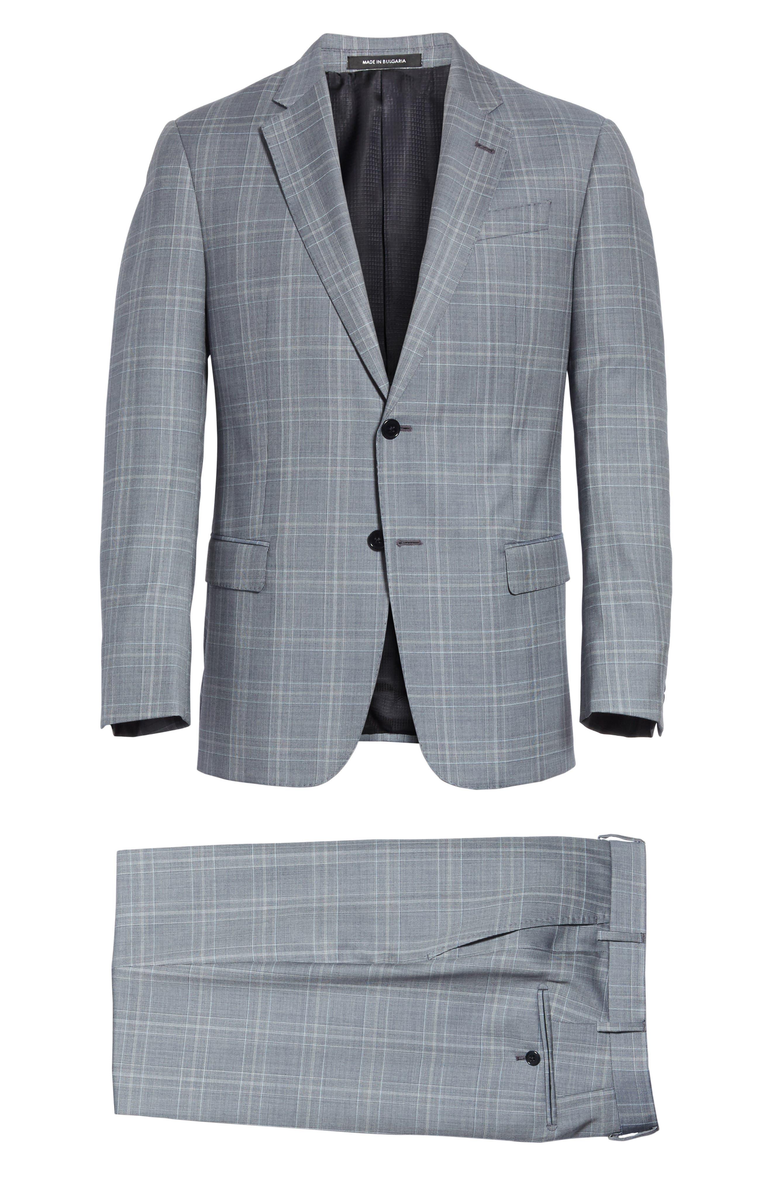 G-Line Trim Fit Plaid Wool Suit,                             Alternate thumbnail 8, color,                             Grey