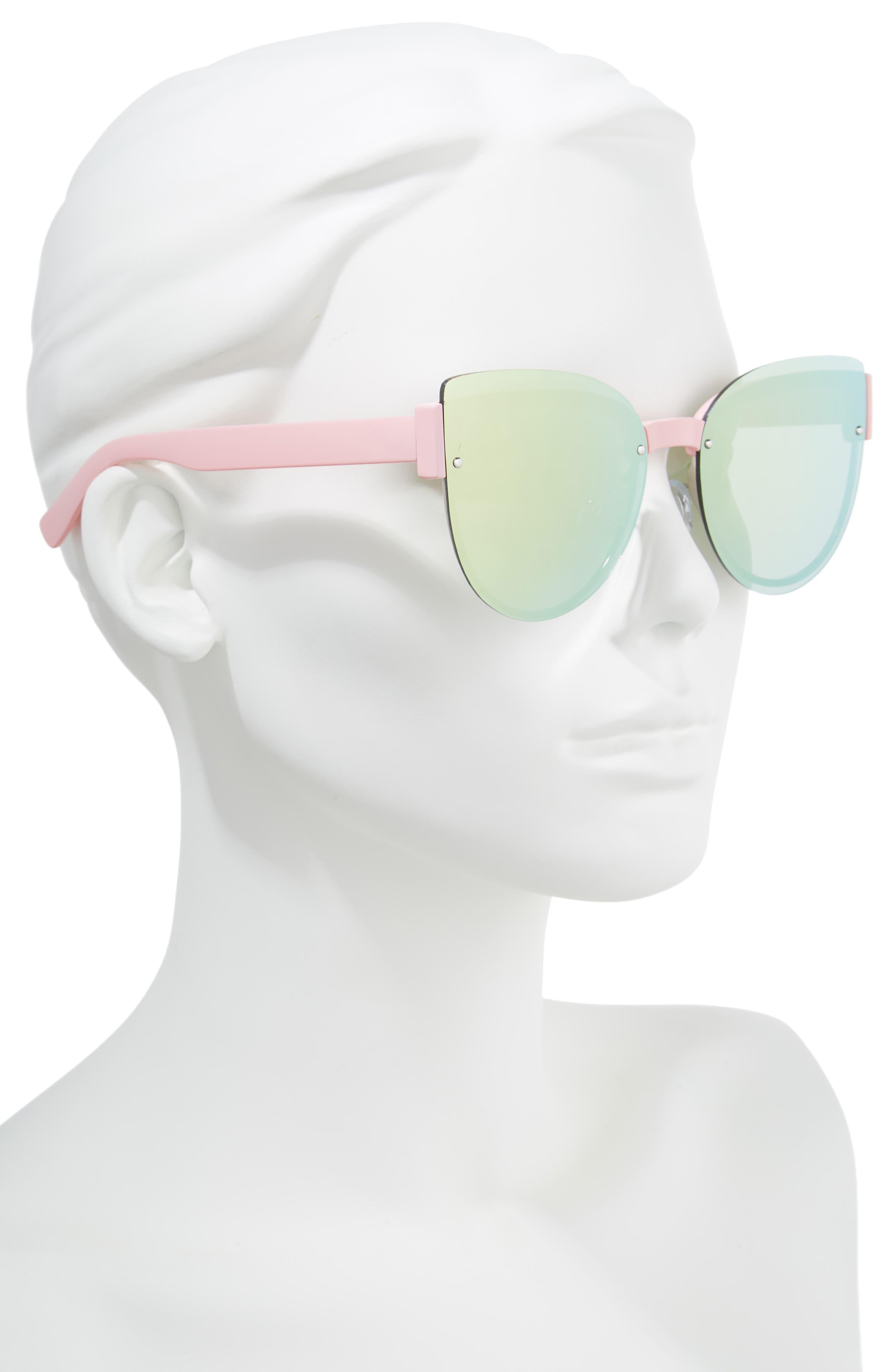 62mm Oversize Rimless Cat Eye Sunglasses,                             Alternate thumbnail 2, color,                             Pink