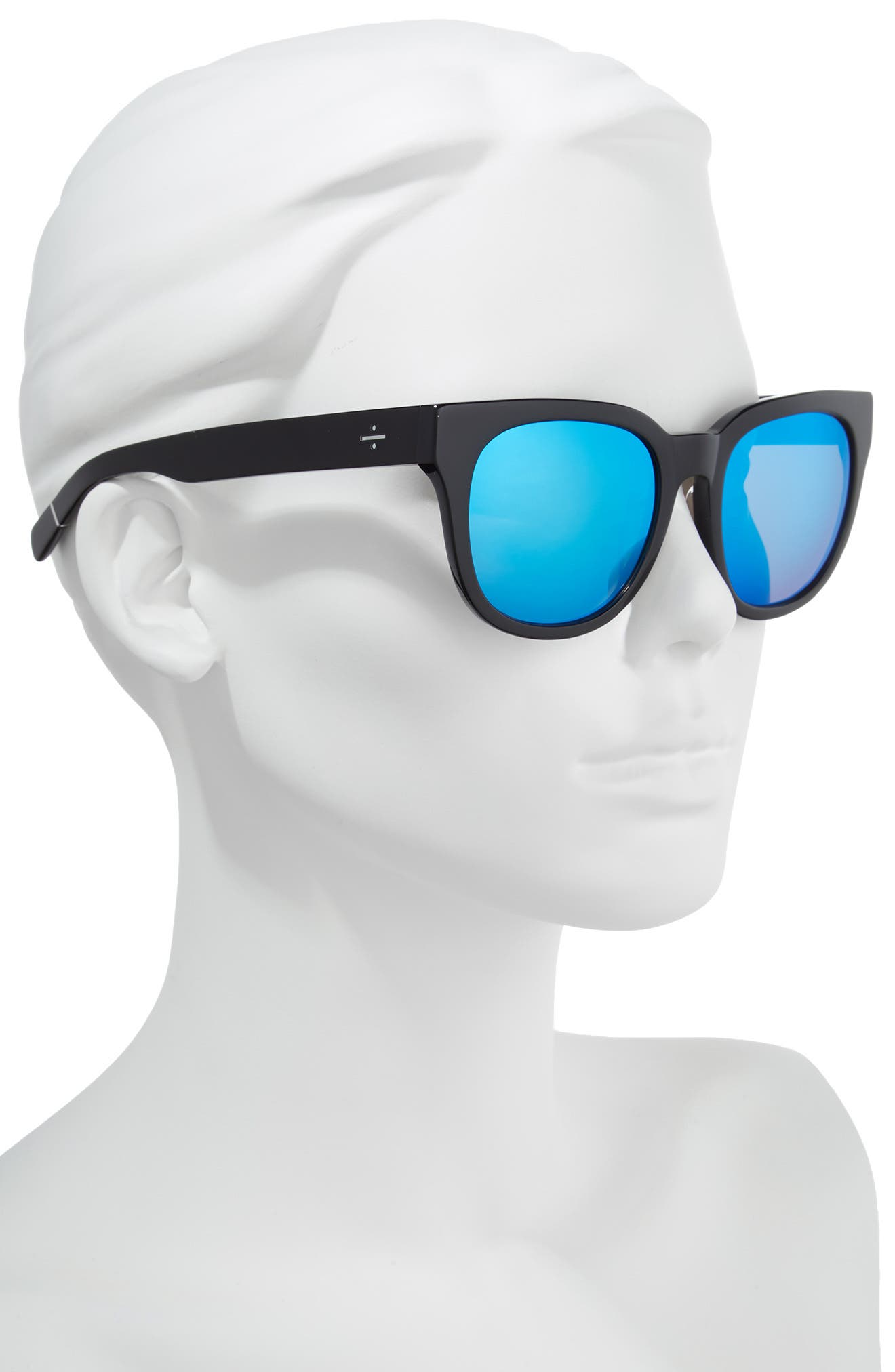 BLANC & ECLARE Seoul 55mm Polarized Sunglasses,                             Alternate thumbnail 2, color,                             Black/ Blue Mirror