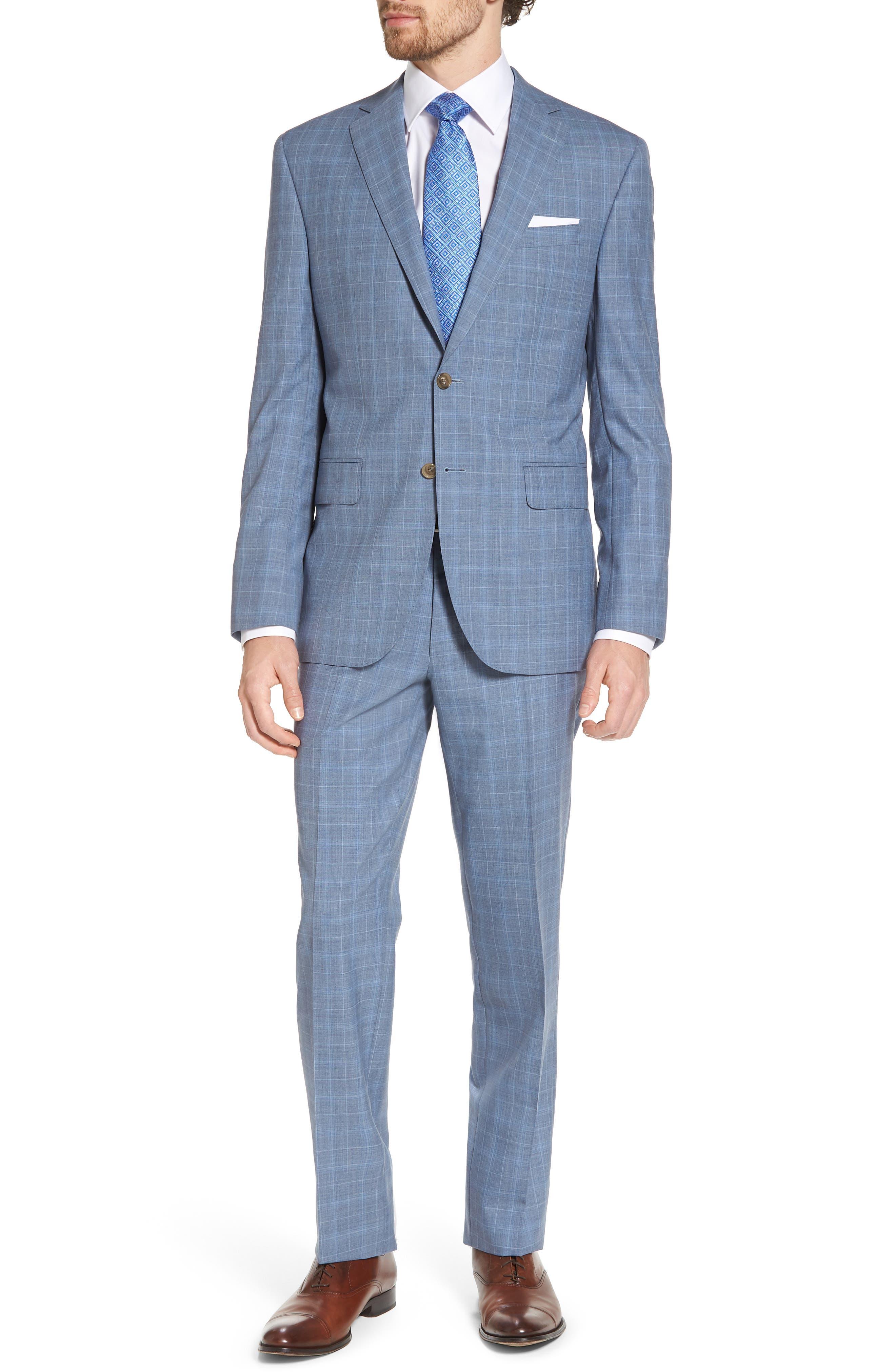 Ryan Classic Fit Plaid Wool Suit,                         Main,                         color, Blue