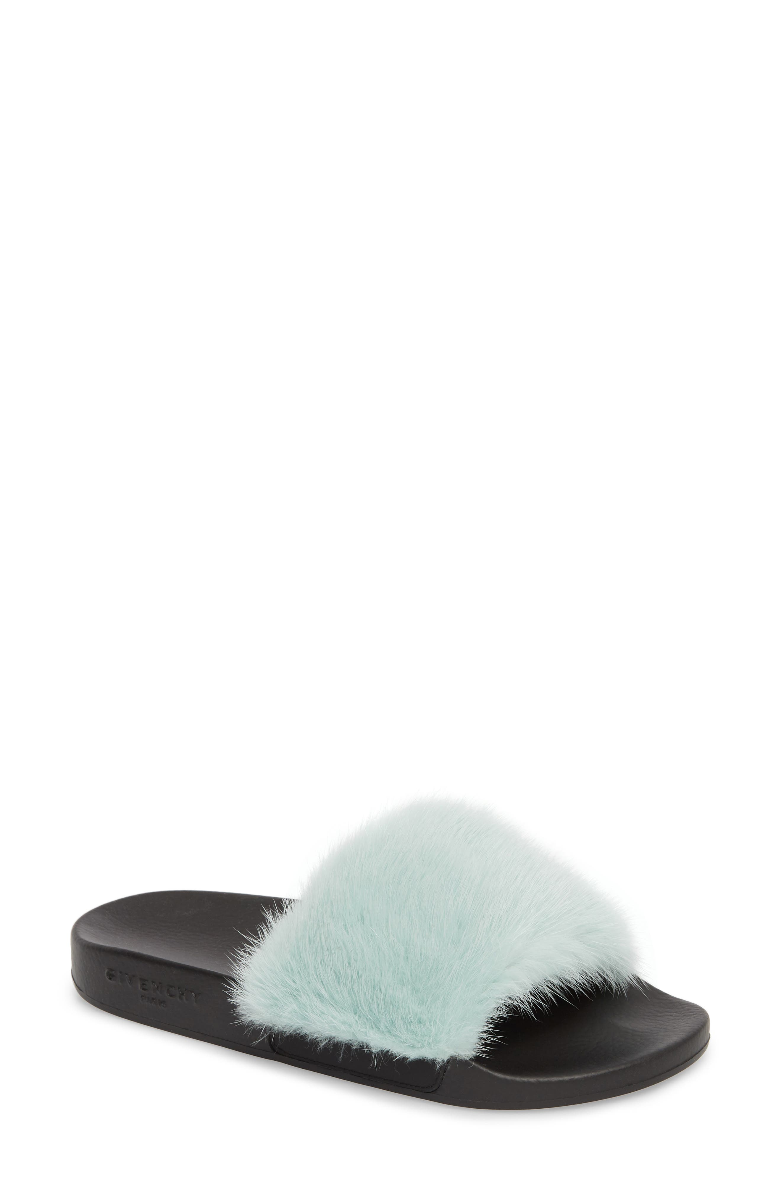 Genuine Mink Fur Slide Sandal,                         Main,                         color, Aqua