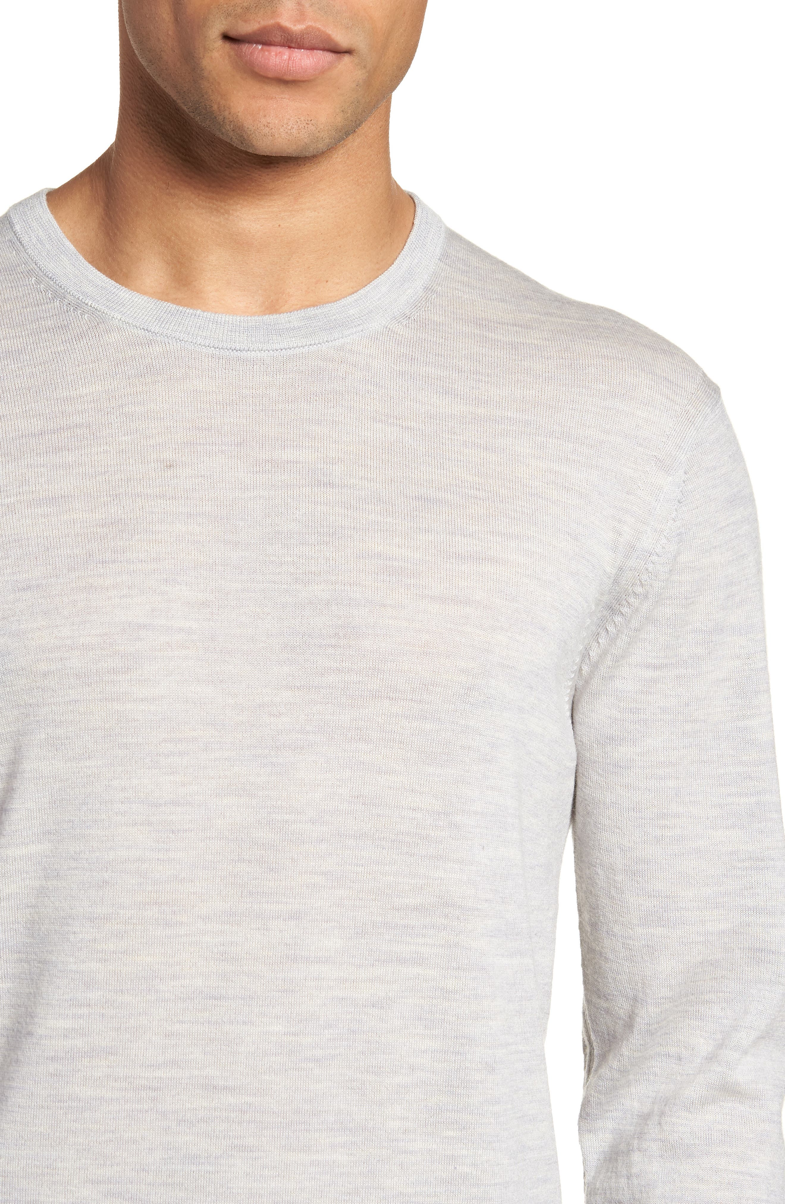 Lang Crewneck Wool Sweater,                             Alternate thumbnail 4, color,                             Light Grey Marl