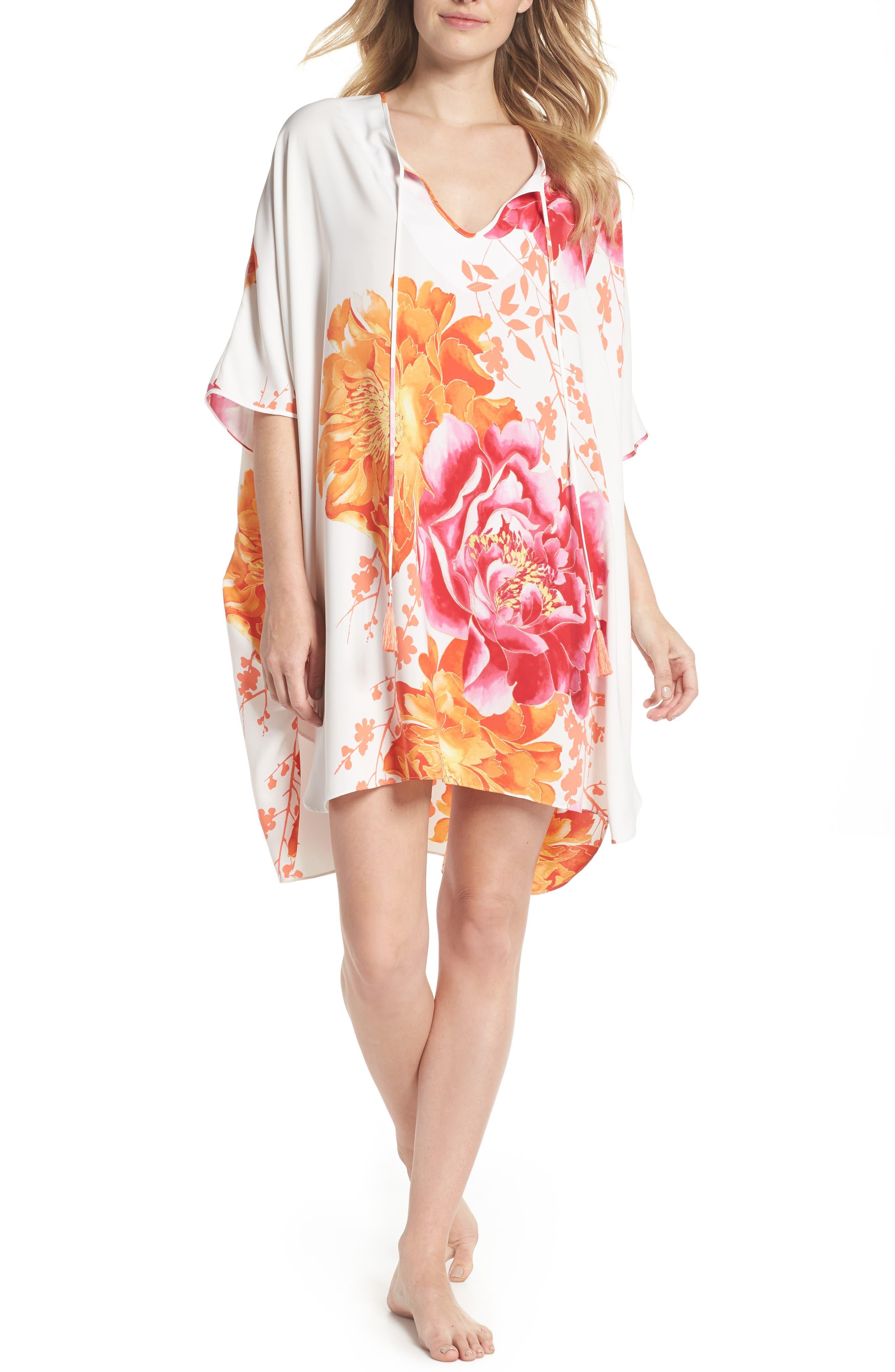 Bali Floral Print Satin Caftan,                         Main,                         color, Warm White