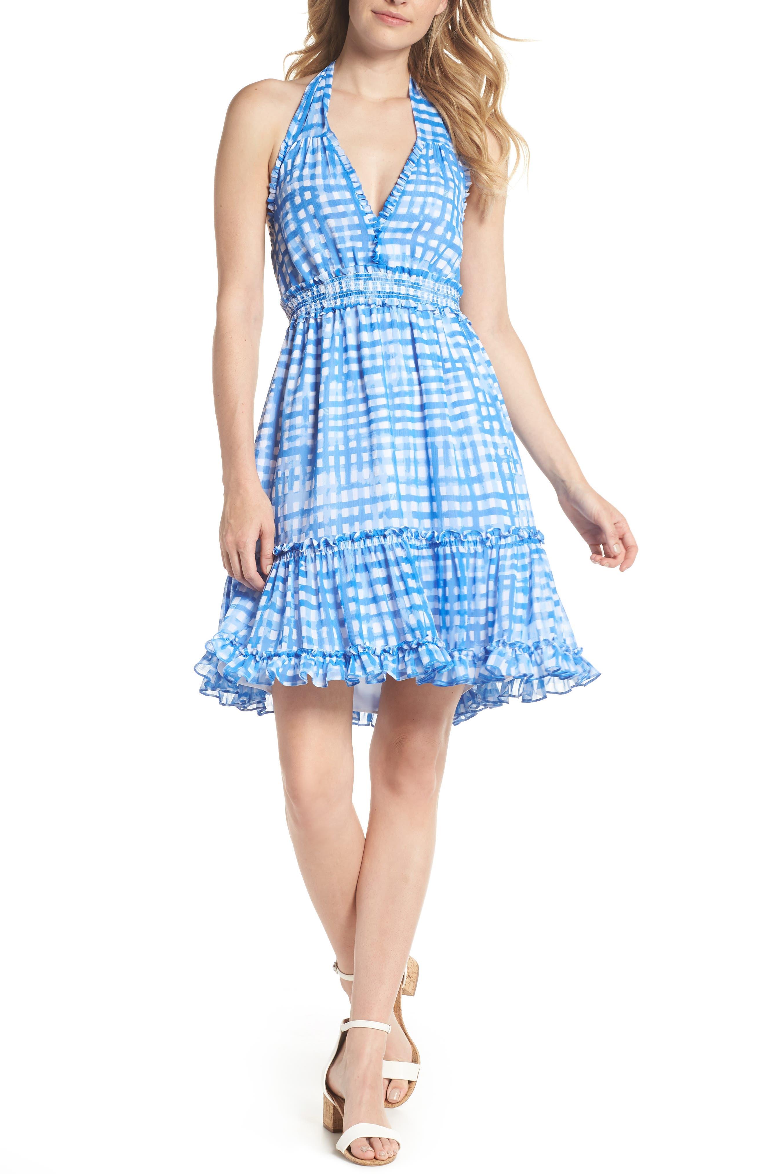 Cailee Halter Dress,                         Main,                         color, Bennet Blue Feelin Beachy Gin