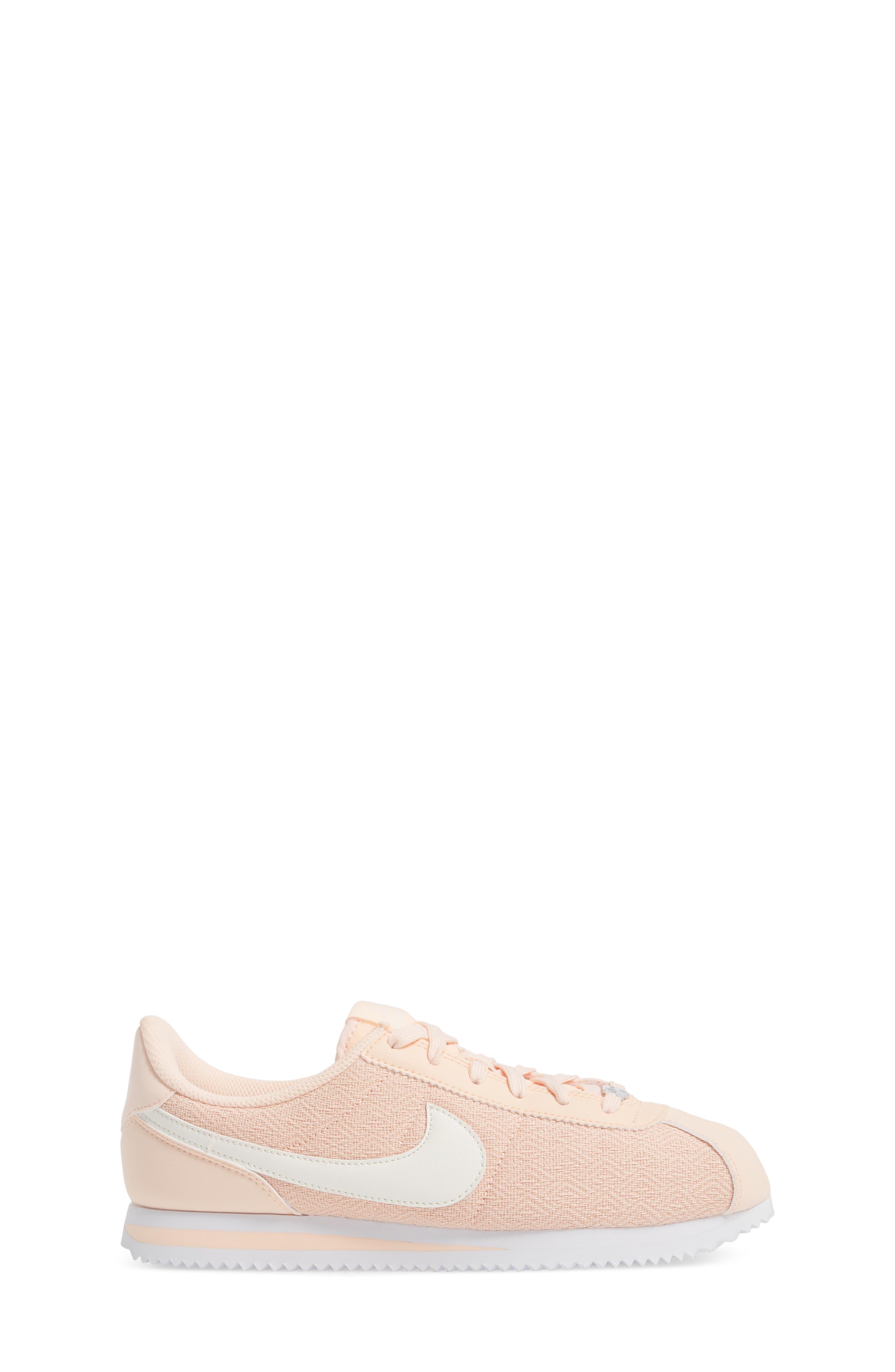 Cortez Basic TXT SE Sneaker,                             Alternate thumbnail 3, color,                             Crimson Tint/ Sail/ White