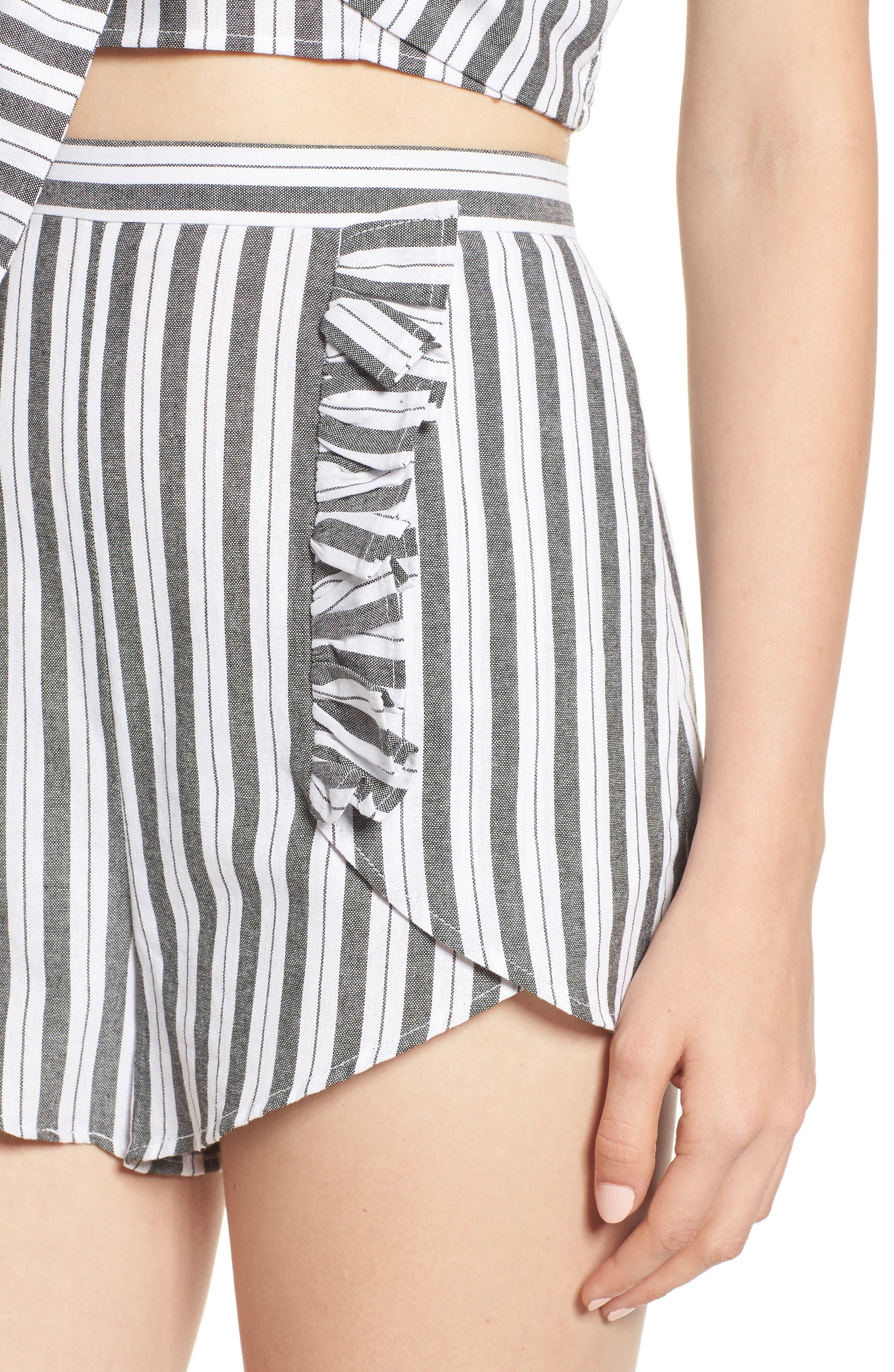 Acacia Stripe High Waist Shorts,                             Alternate thumbnail 5, color,                             Black W White