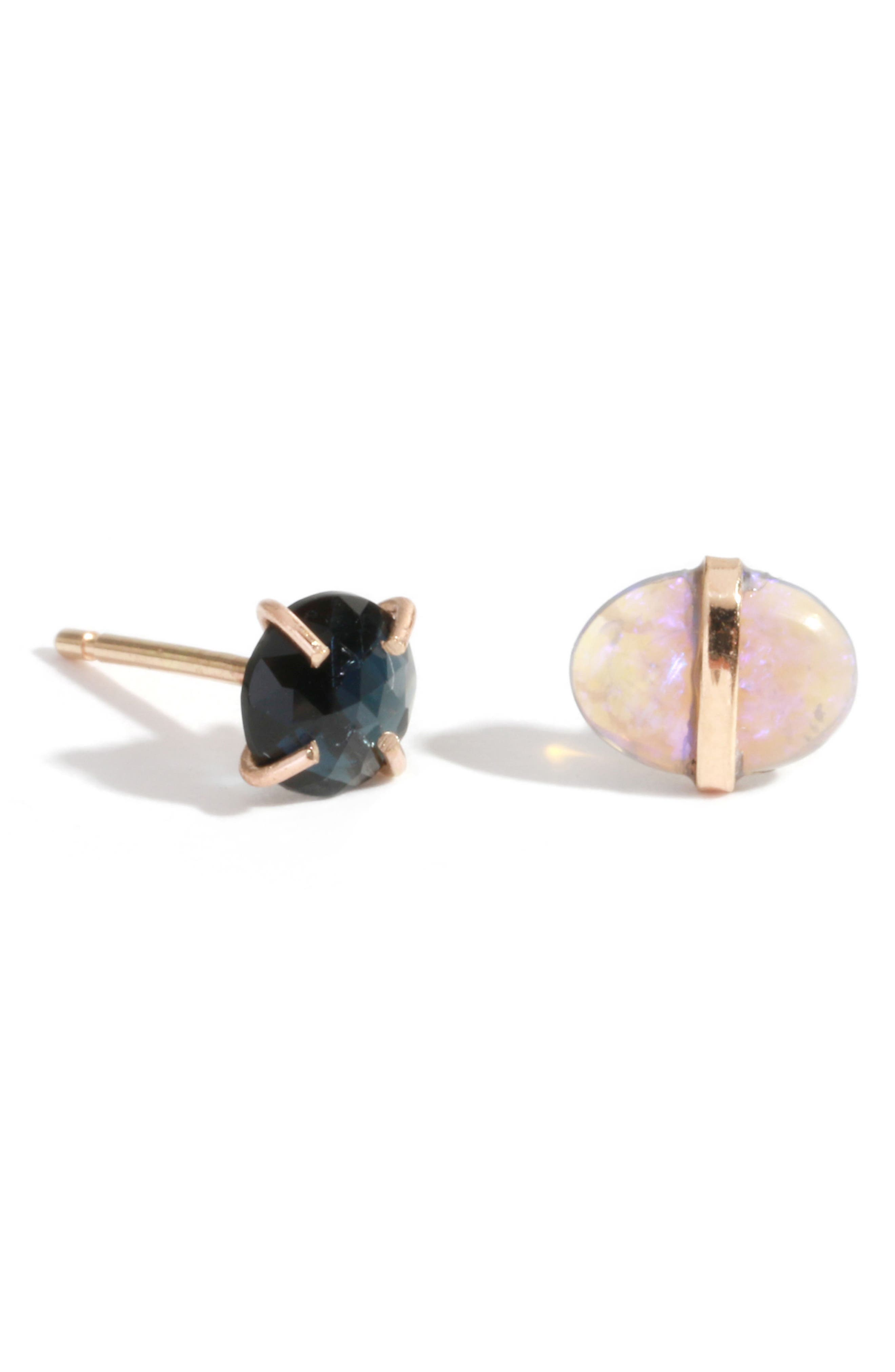 Mismatched Stone Stud Earrings,                         Main,                         color, Yellow Gold