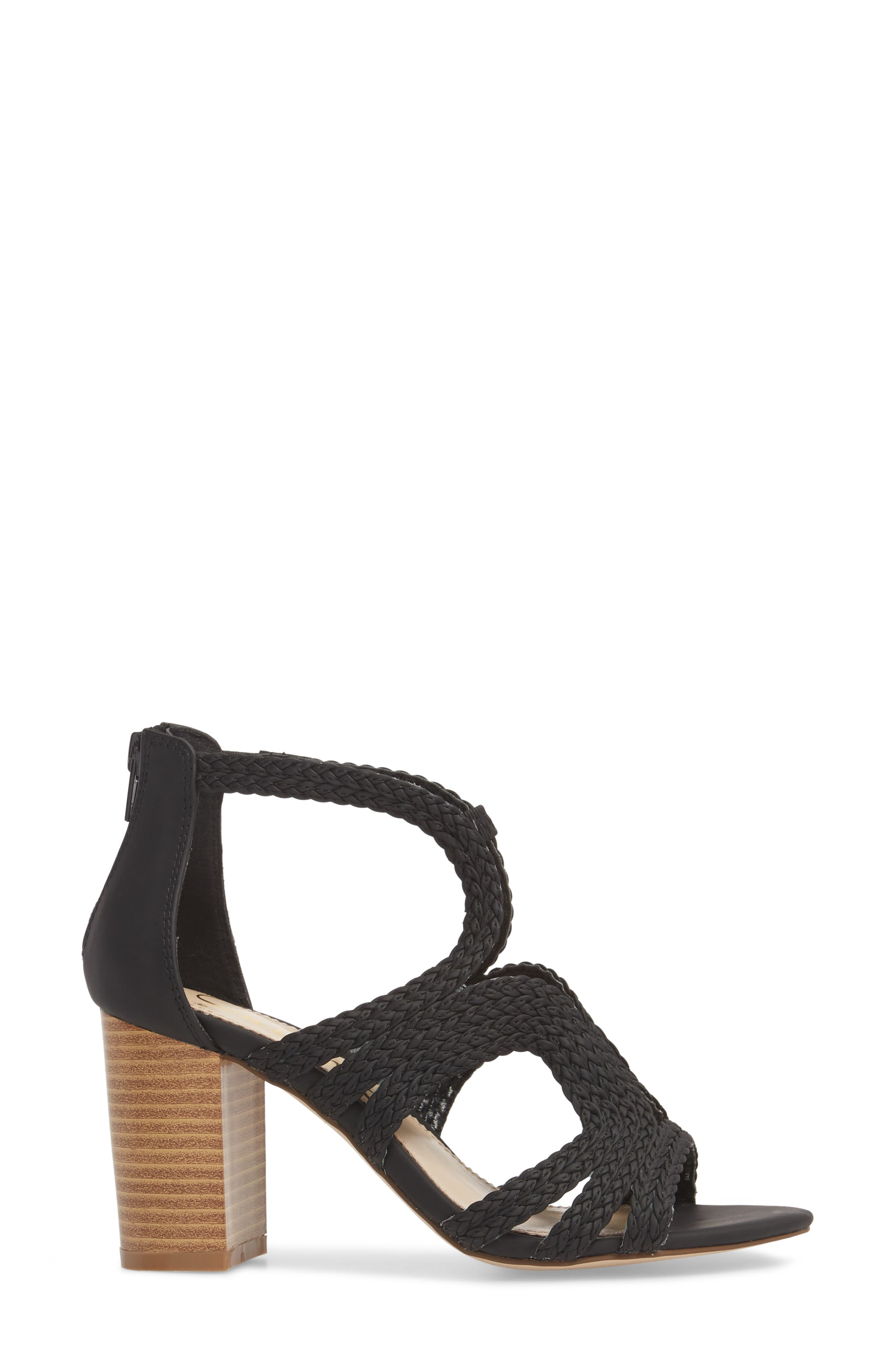 Shindig Block Heel Sandal,                             Alternate thumbnail 3, color,                             Black Fabric