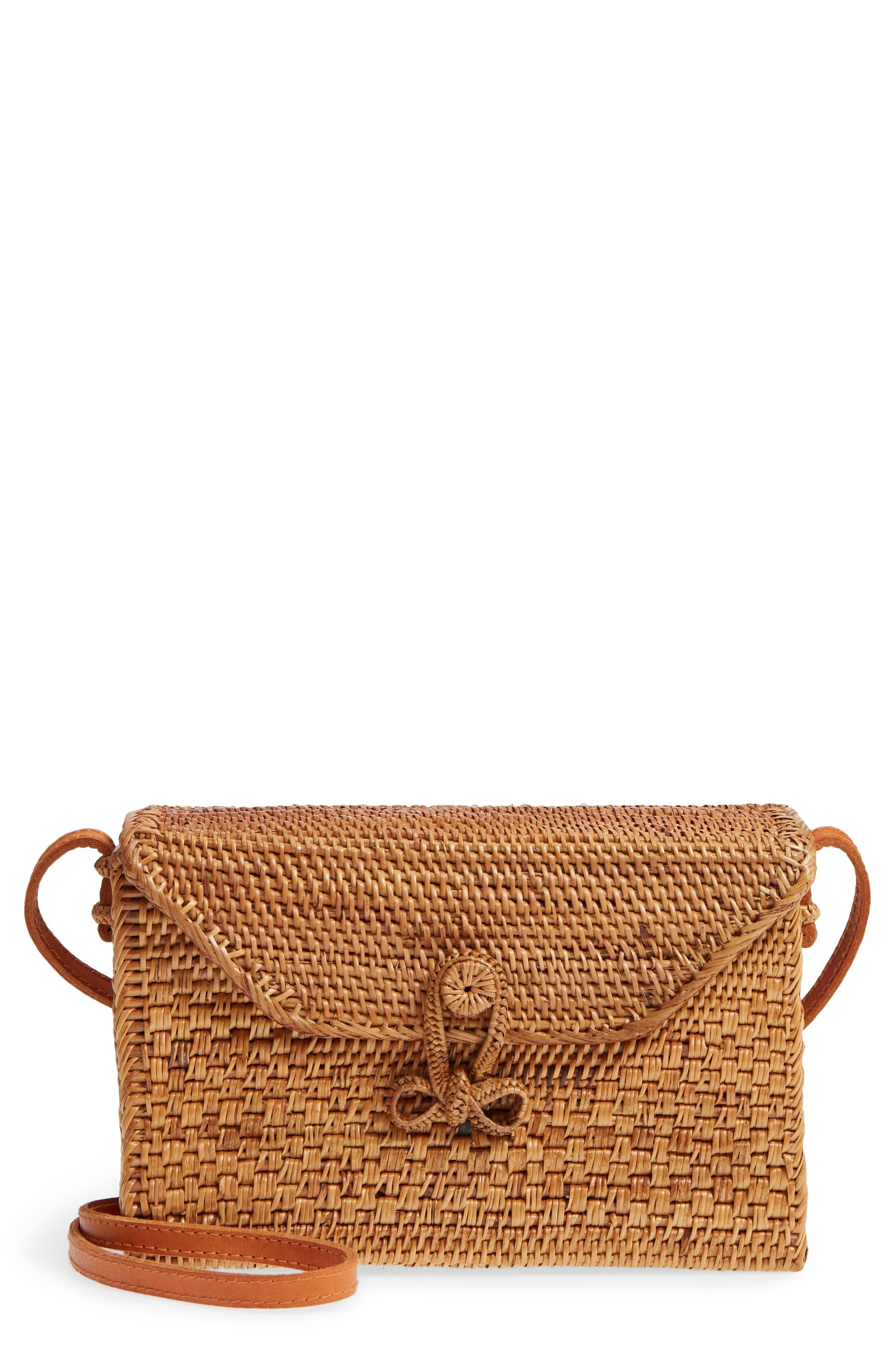 Woven Rattan Box Crossbody Bag,                         Main,                         color, Tan
