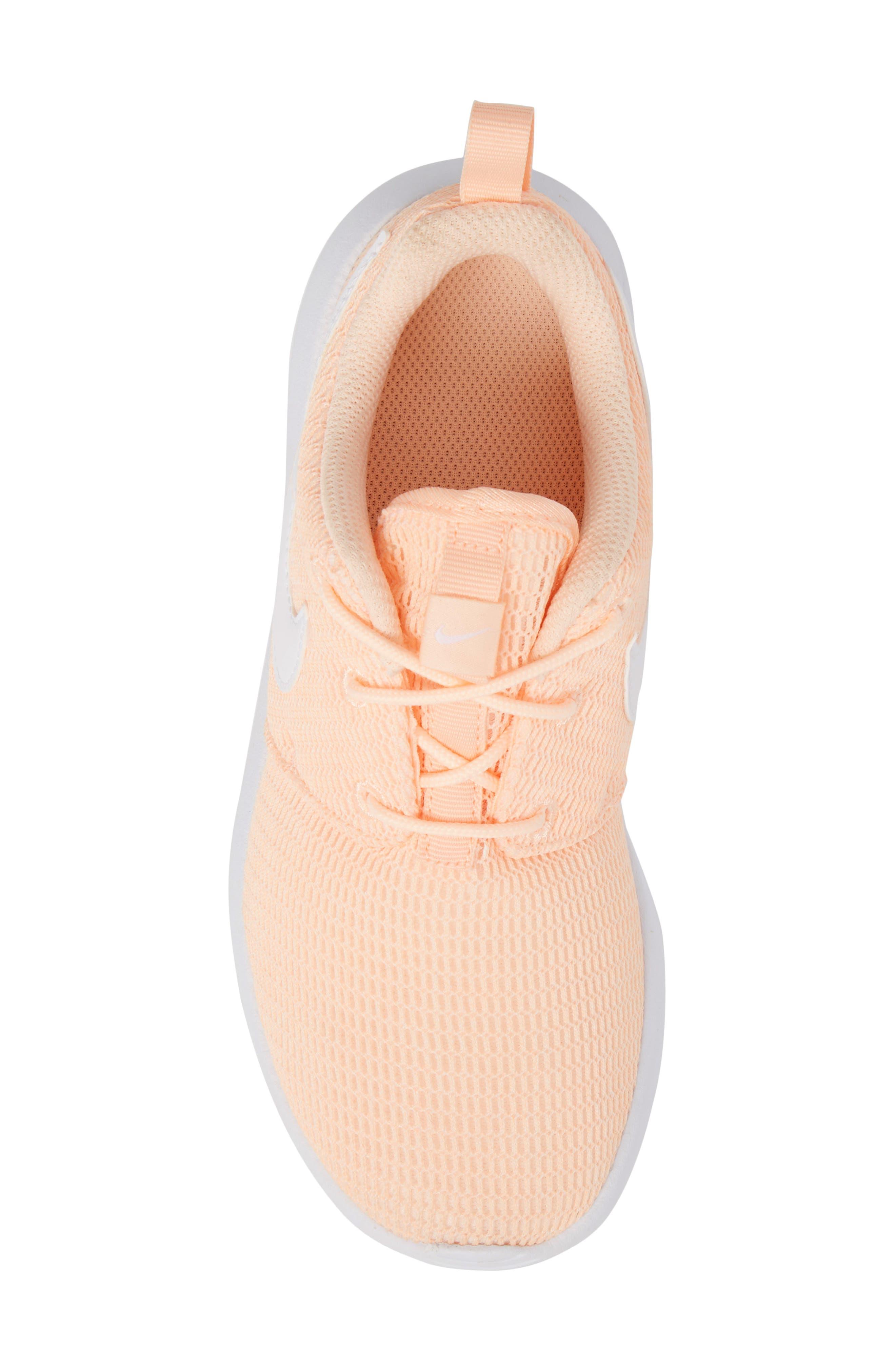 'Roshe Run' Athletic Shoe,                             Alternate thumbnail 5, color,                             Crimson Tint/ White