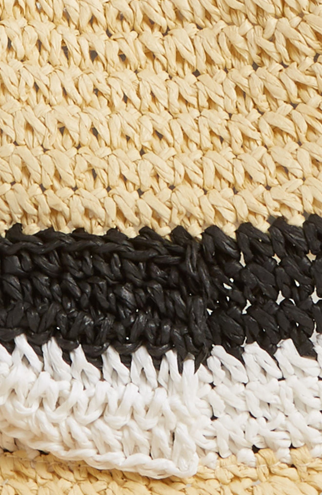 kate spade stripe bow straw trilby,                             Alternate thumbnail 2, color,                             Natural/ Black/ White
