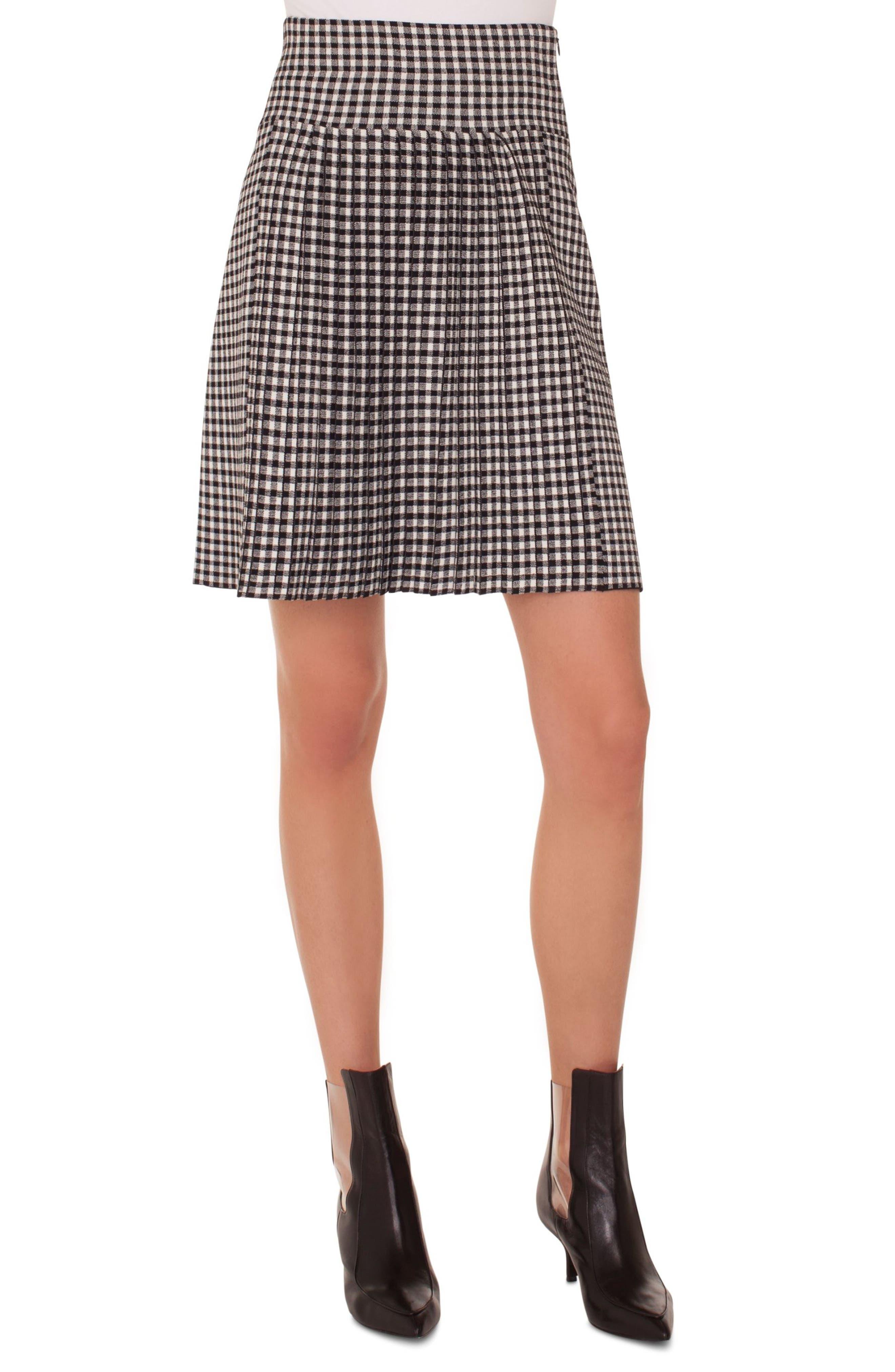 Akris punto Check Pleated Skirt