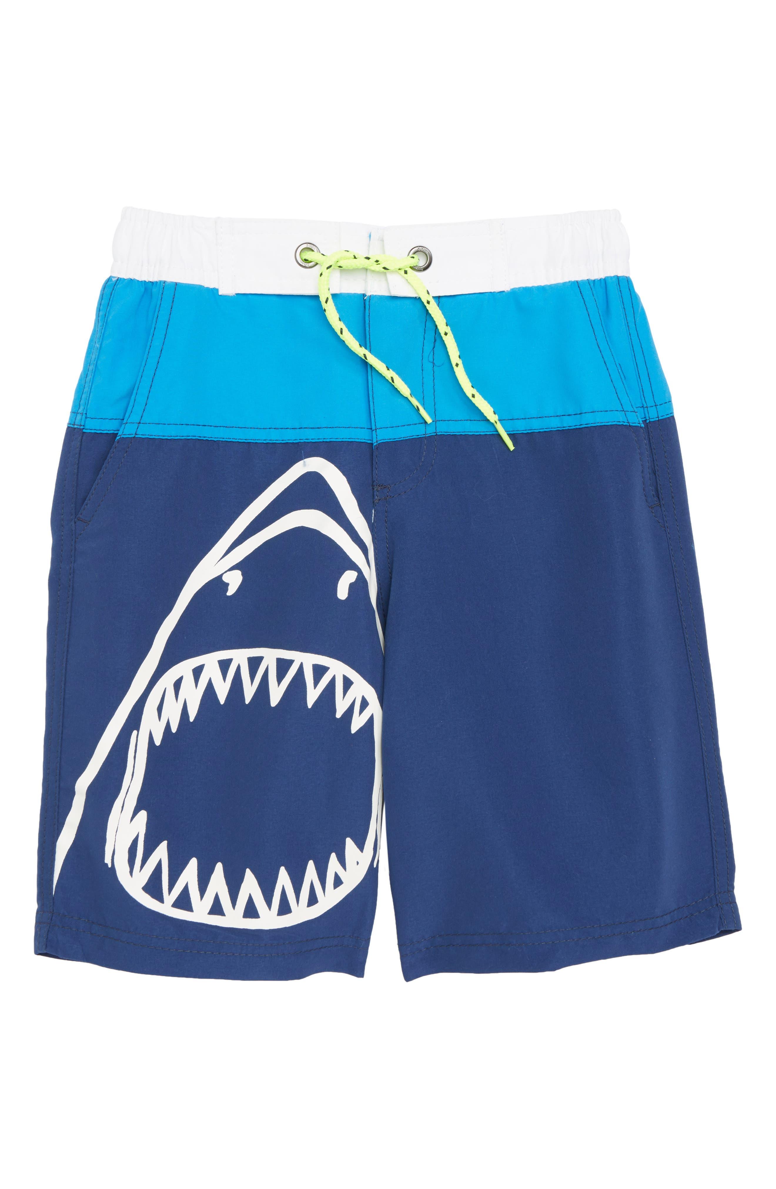 Main Image - Mini Boden Shark Board Shorts (Little Boys & Big Boys)