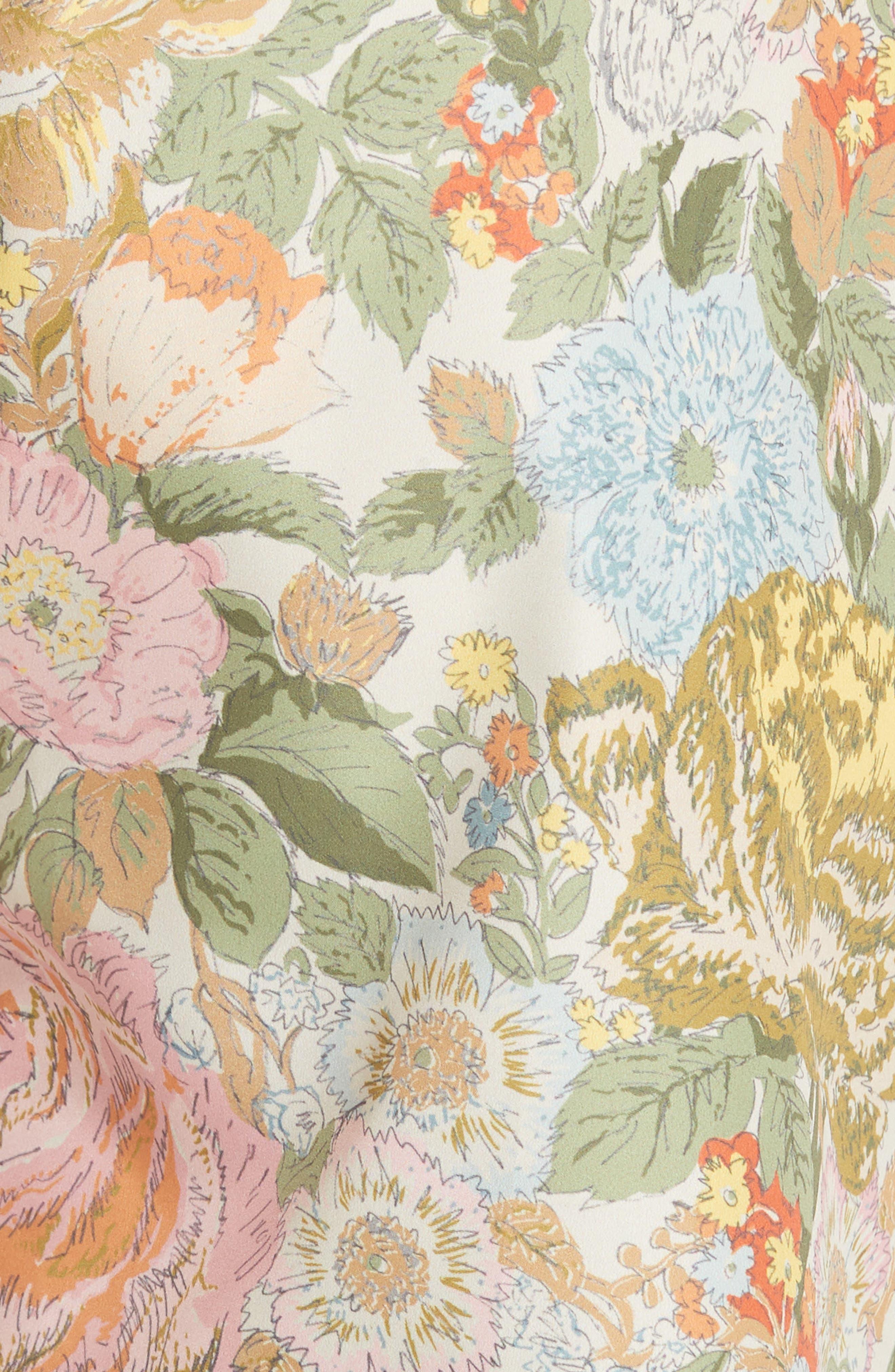 Guildes Floral Print Swim Trunks,                             Alternate thumbnail 5, color,                             Bright Orange