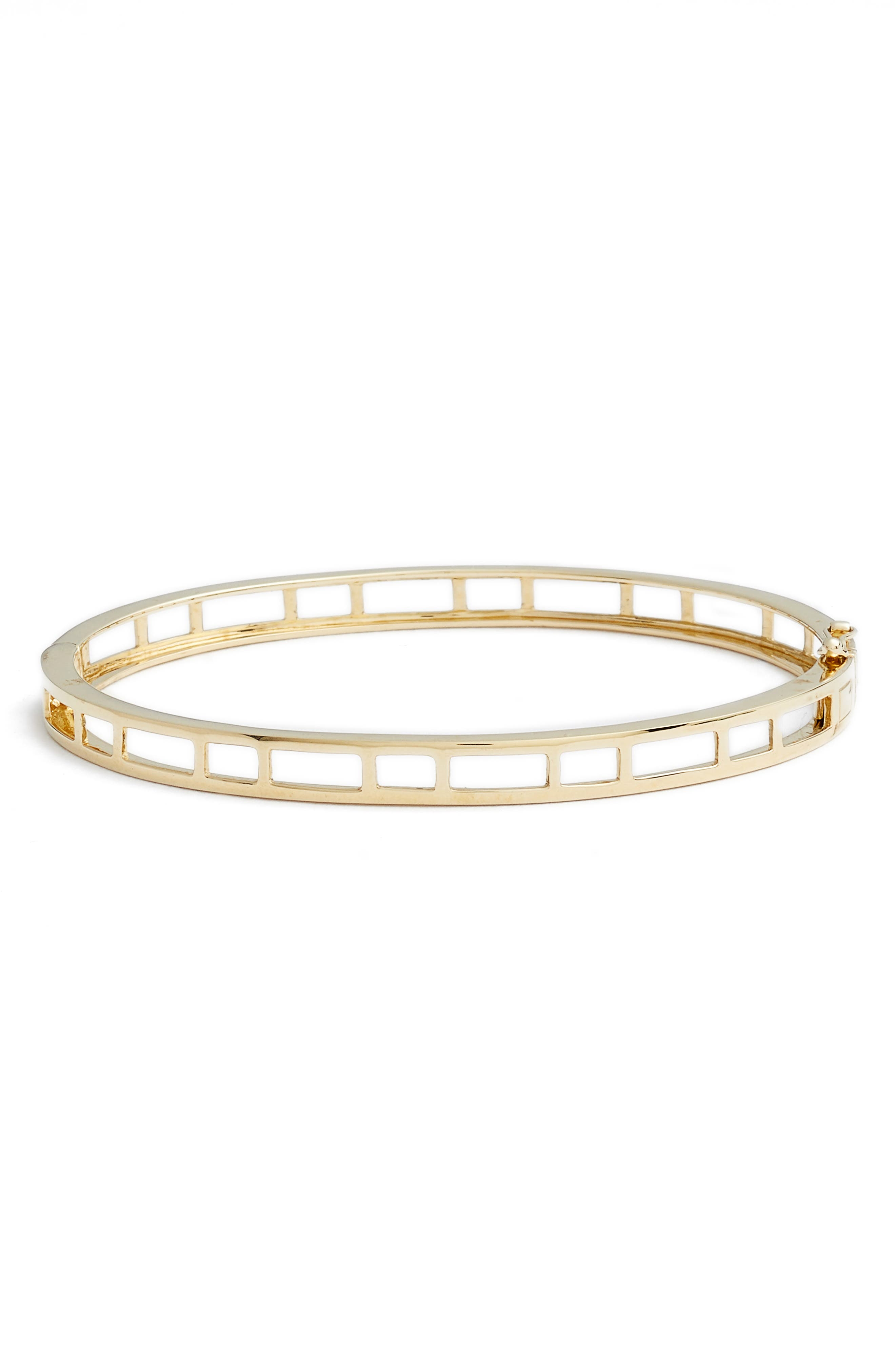 14k Caged Bangle,                         Main,                         color, Yellow Gold