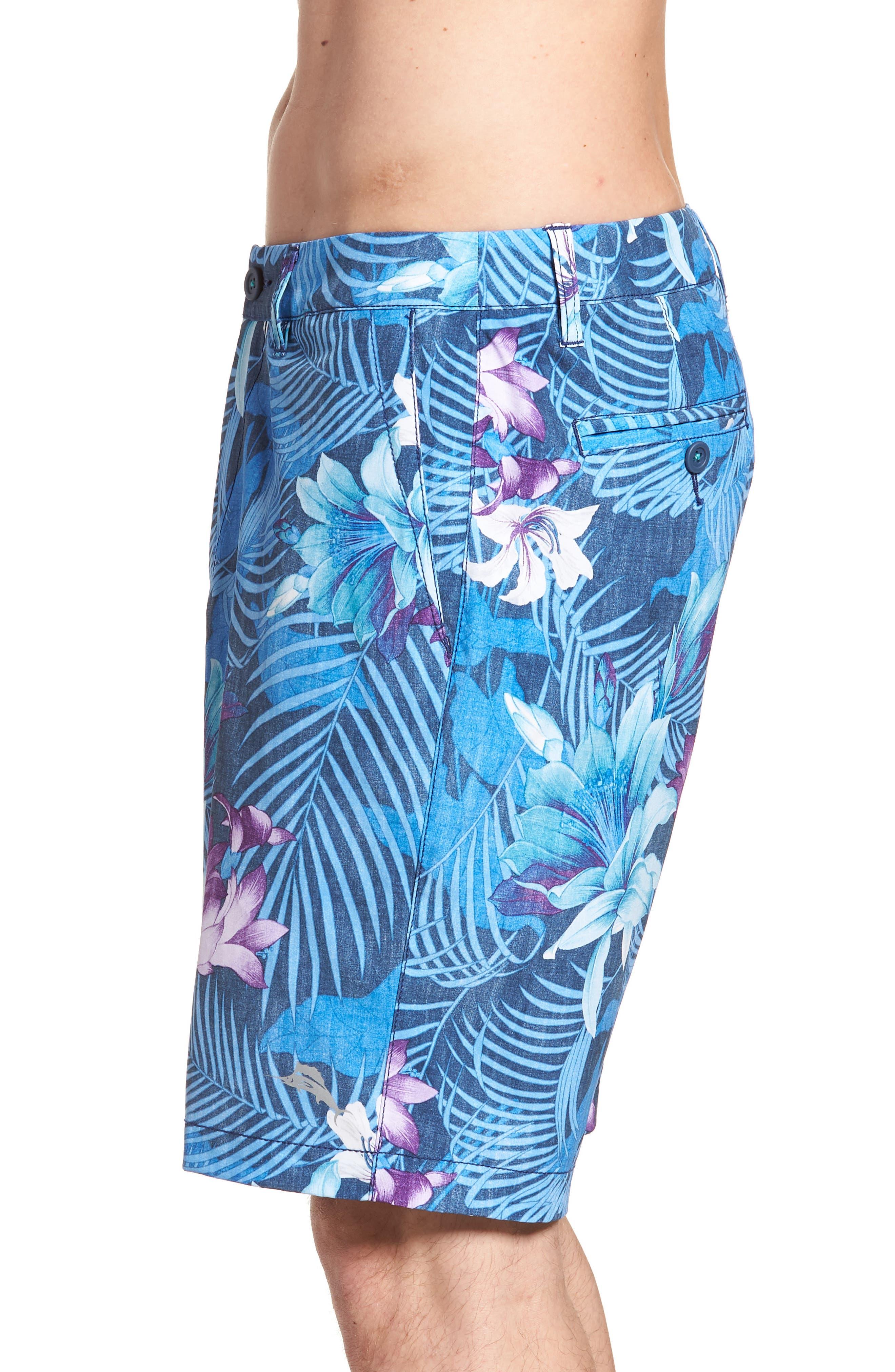 Cayman Laredo Blooms Board Shorts,                             Alternate thumbnail 3, color,                             Ocean Deep