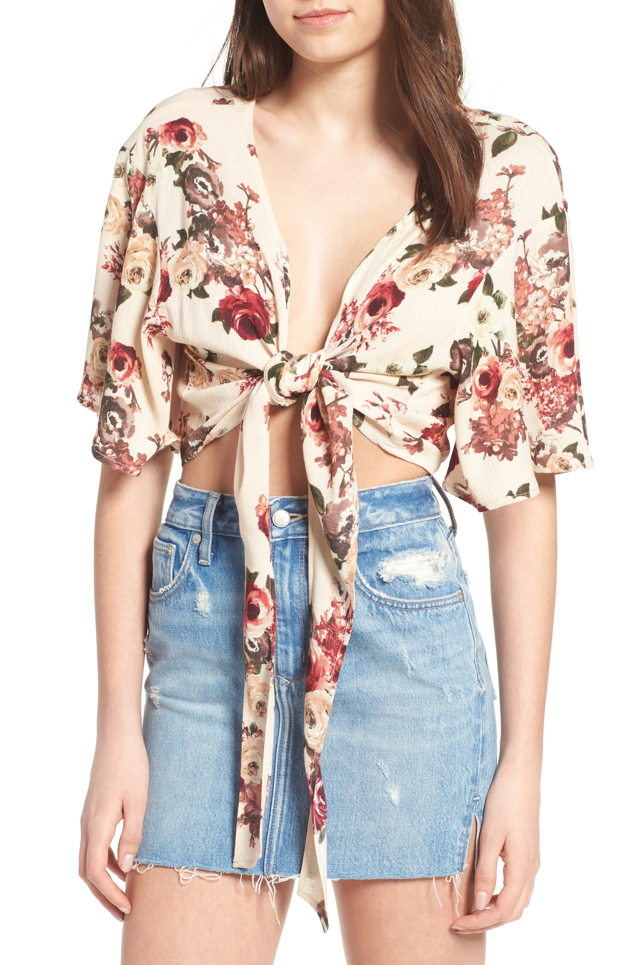 Tie Front Crop Top,                             Main thumbnail 1, color,                             Ivory