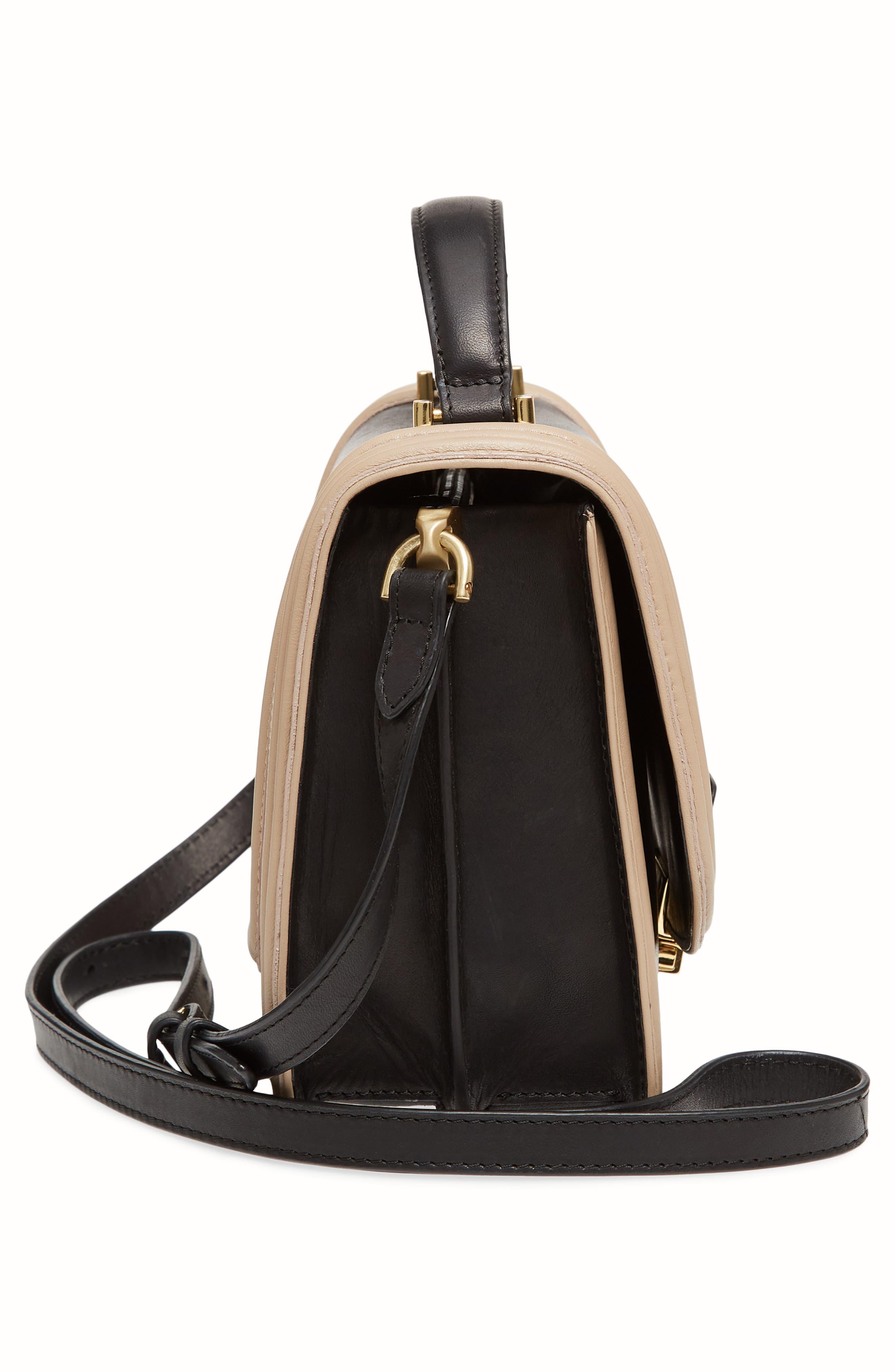 Small Square Top Handle Handbag,                             Alternate thumbnail 5, color,                             Black