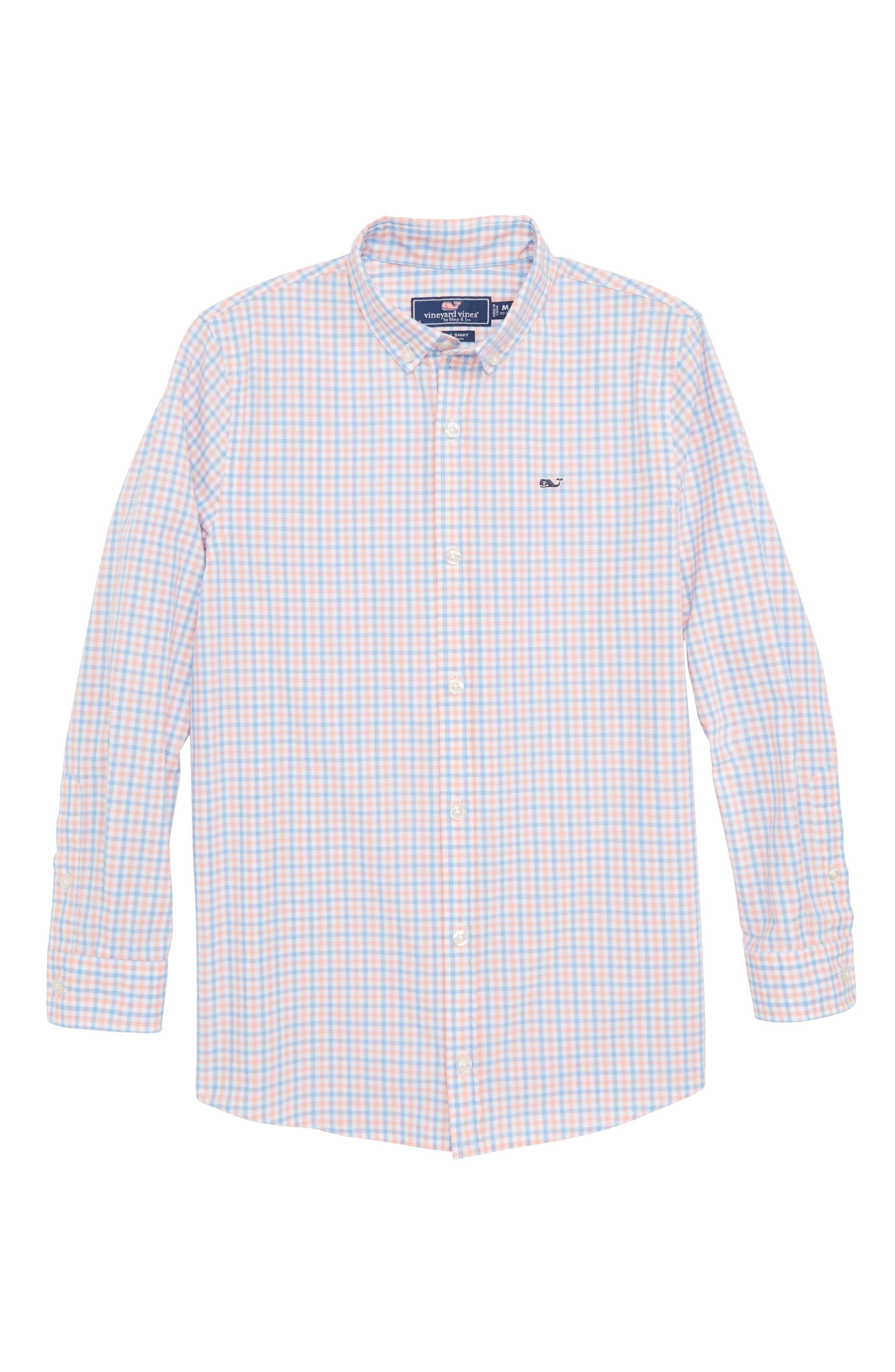Winding Bay Gingham Woven Shirt,                             Main thumbnail 1, color,                             Bright Peach