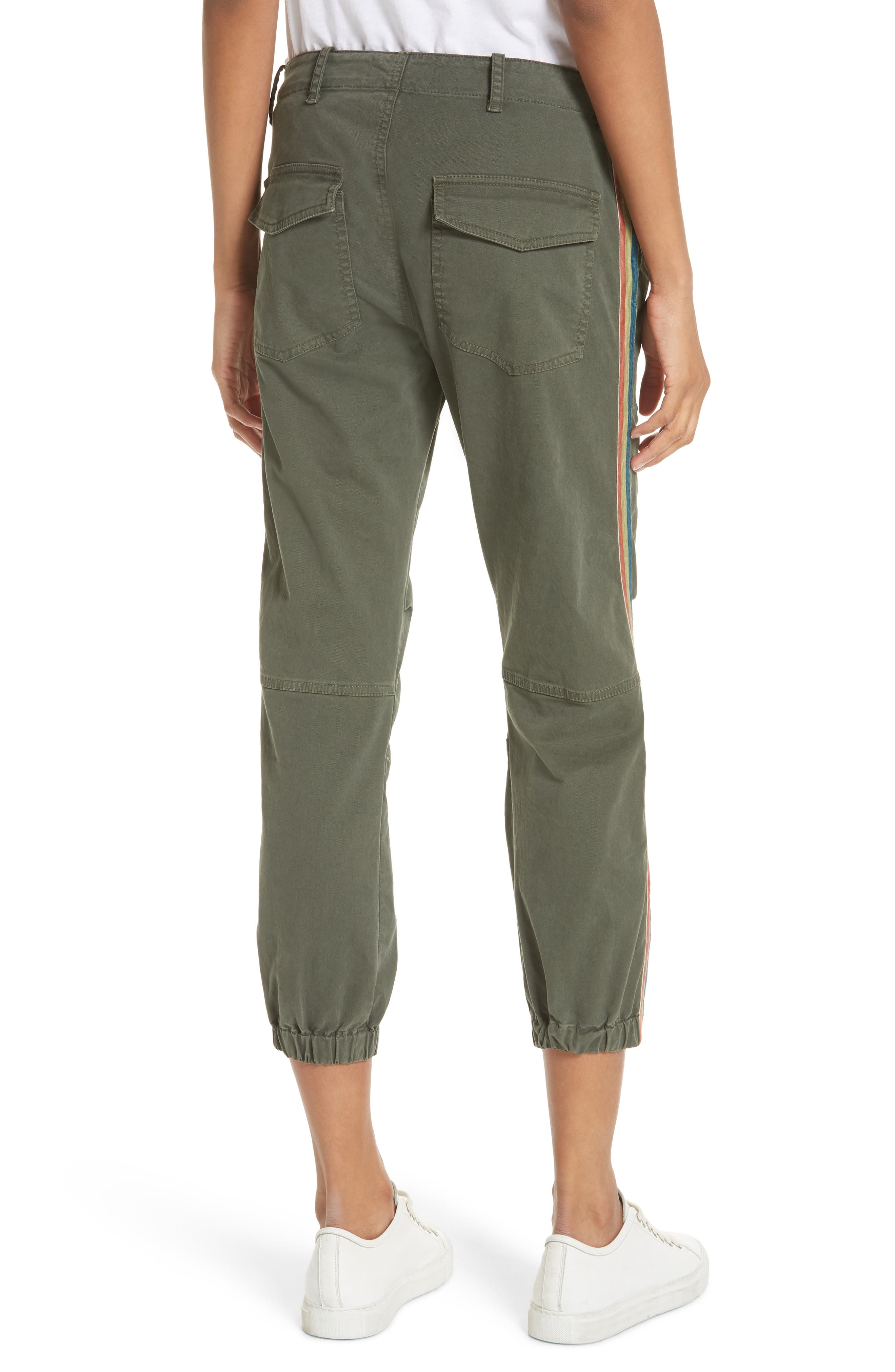French Crop Military Pants,                             Alternate thumbnail 2, color,                             Loden