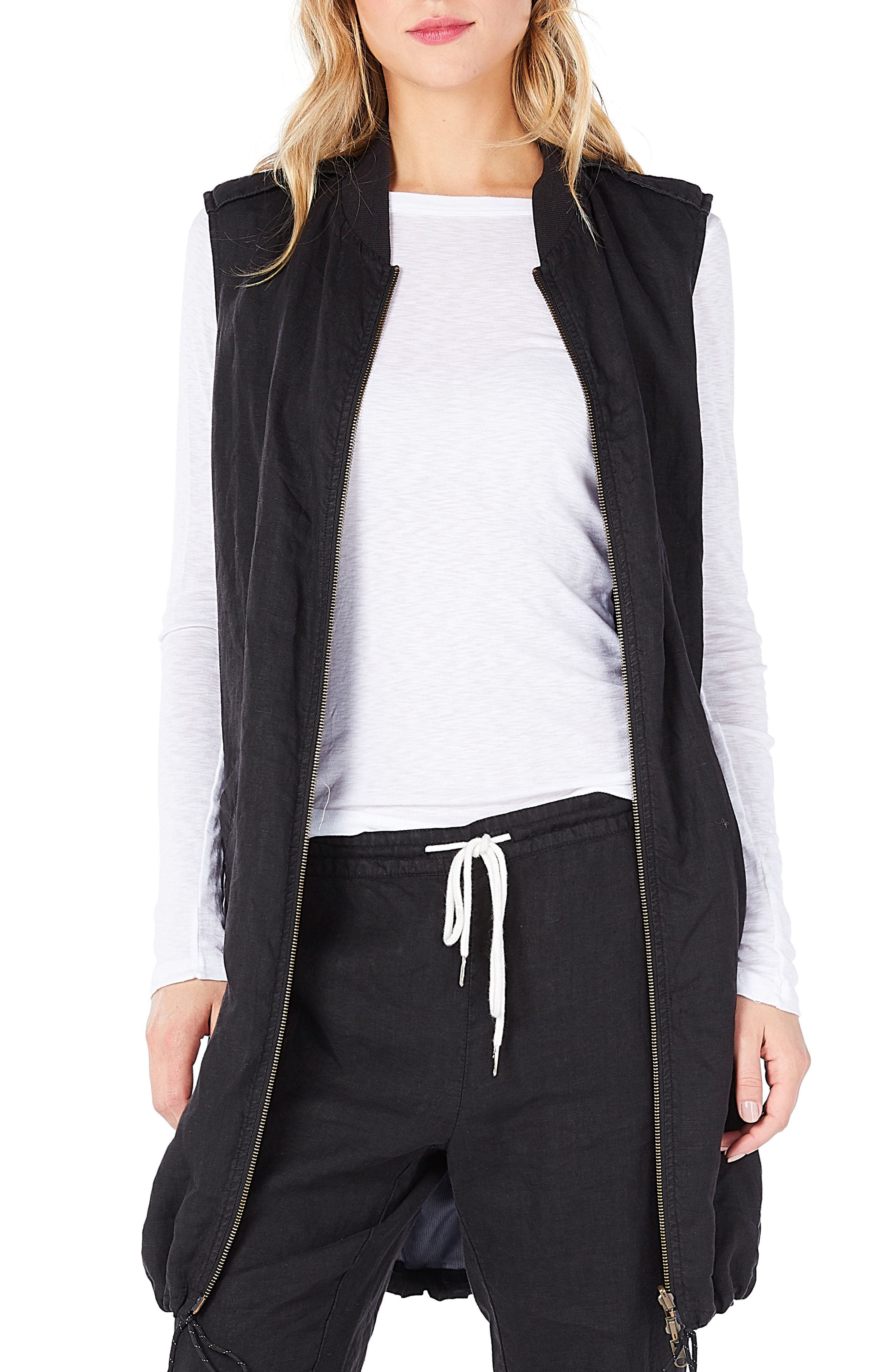 Reversible Bomber Vest,                         Main,                         color, Black