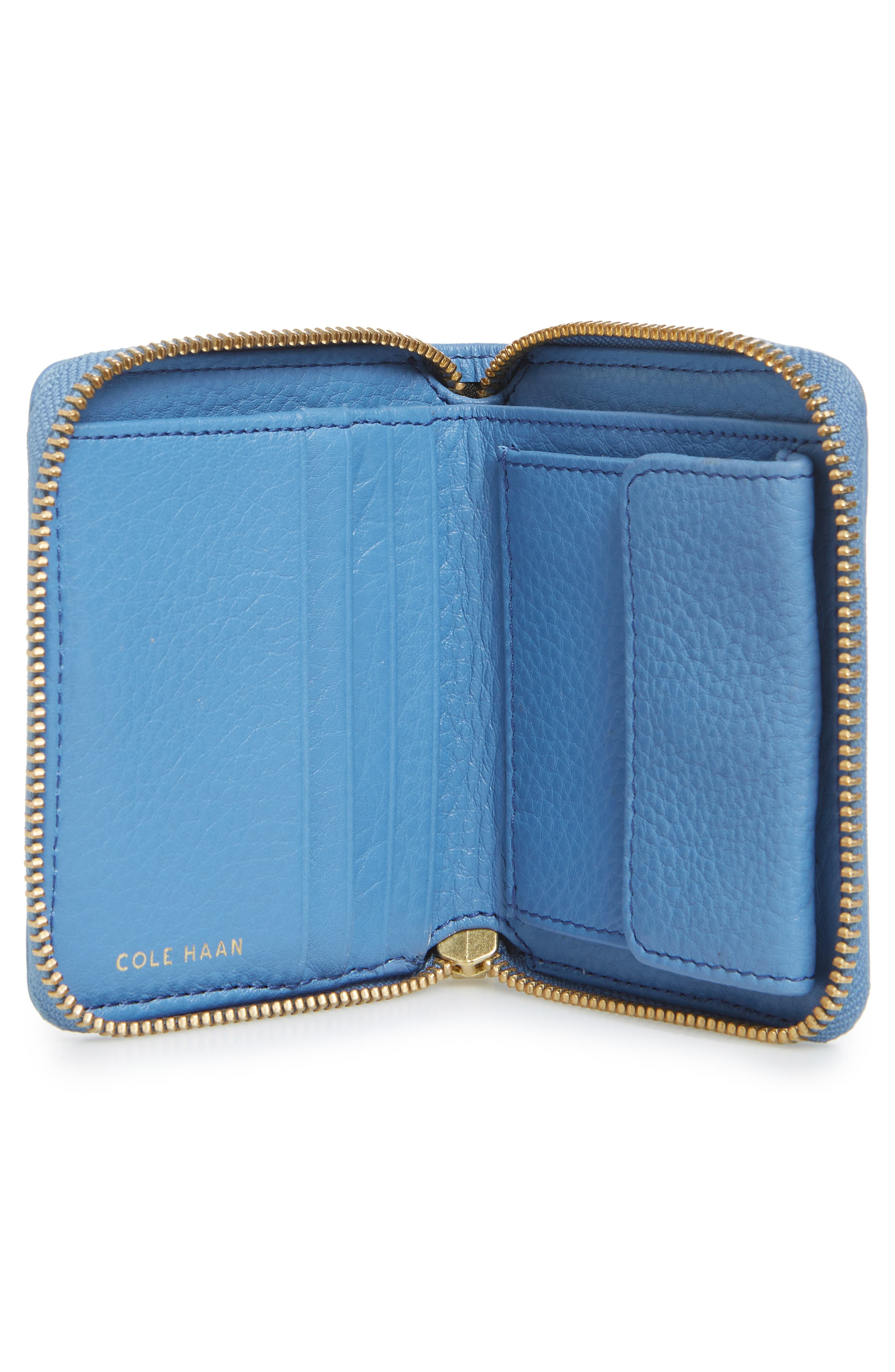 Cassidy Small RFID Leather Zip Wallet,                             Alternate thumbnail 3, color,                             Riverside