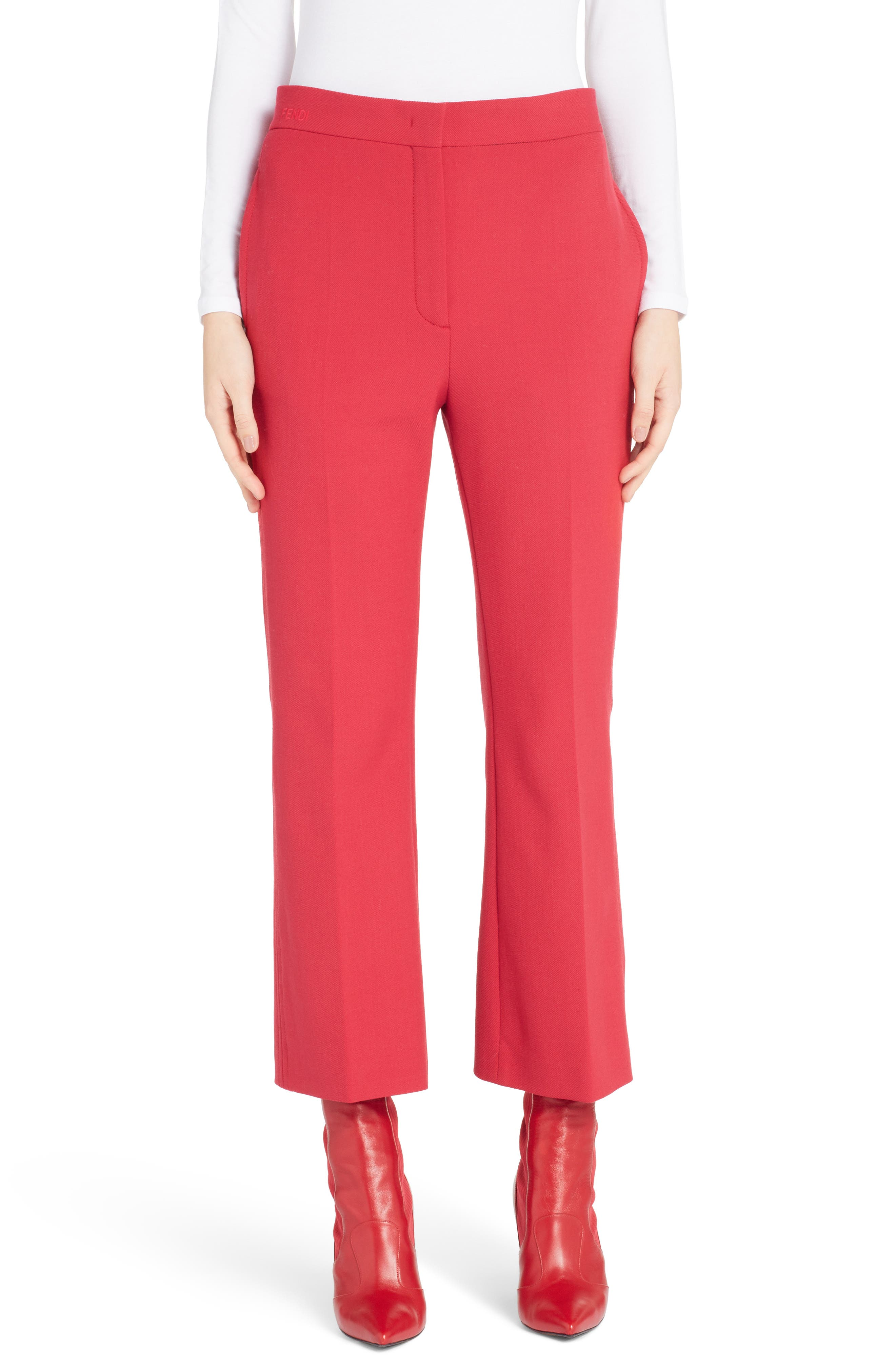 Stretch Drill Crop Flare Pants,                         Main,                         color, Red