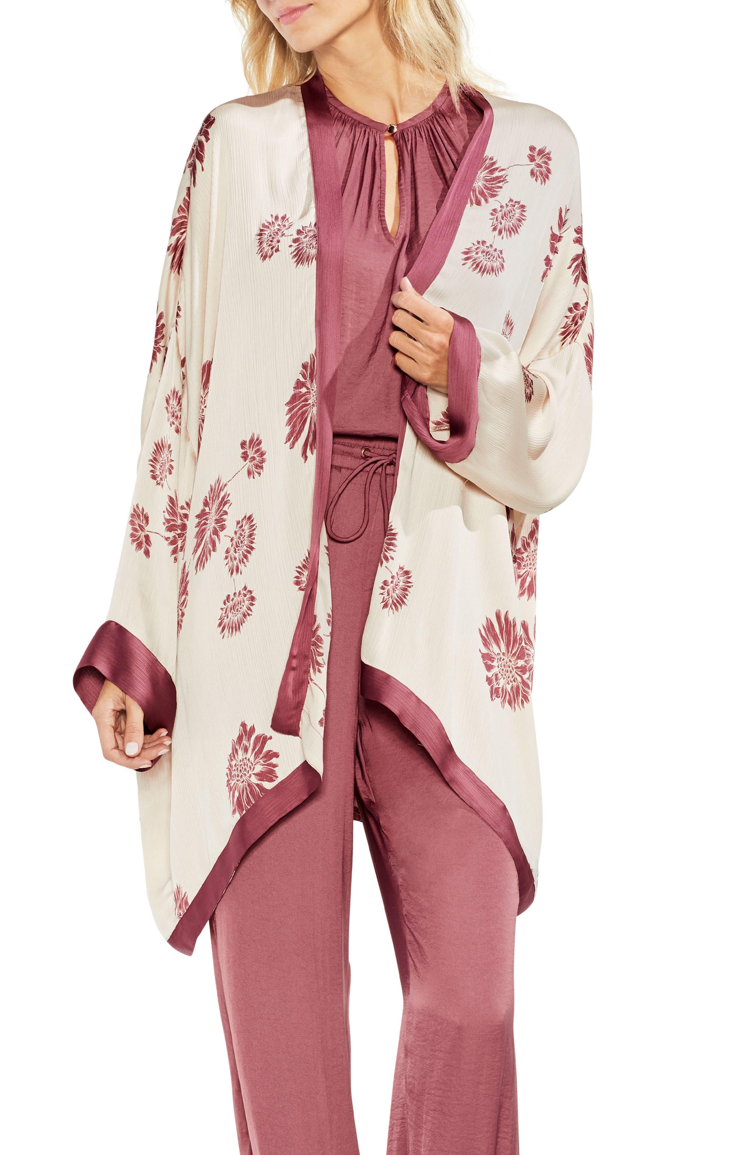 Chateau Sketch Floral Kimono,                             Main thumbnail 1, color,                             Rich Cream