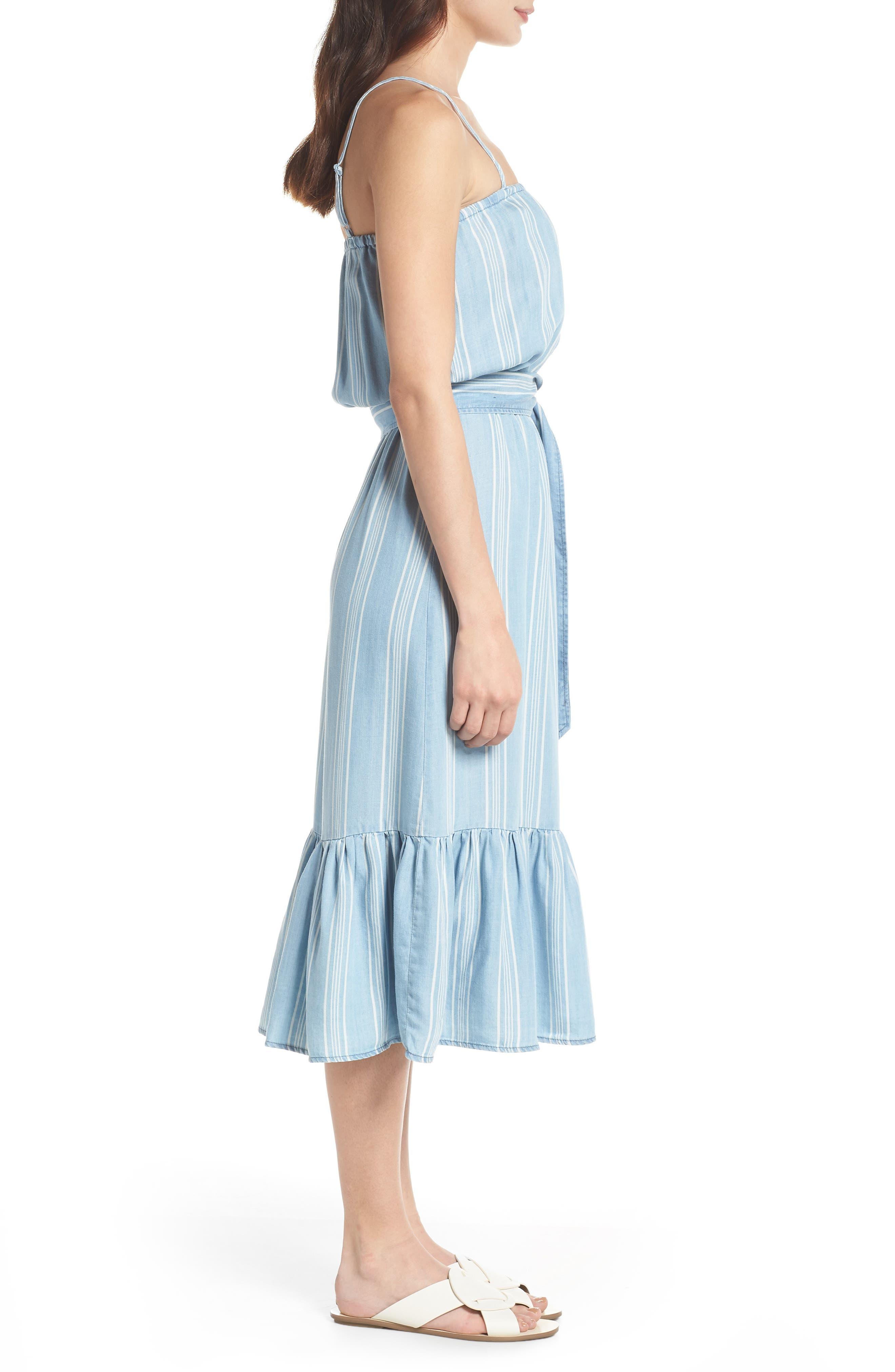 Tailyn Stripe Midi Dress,                             Alternate thumbnail 3, color,                             Chambray