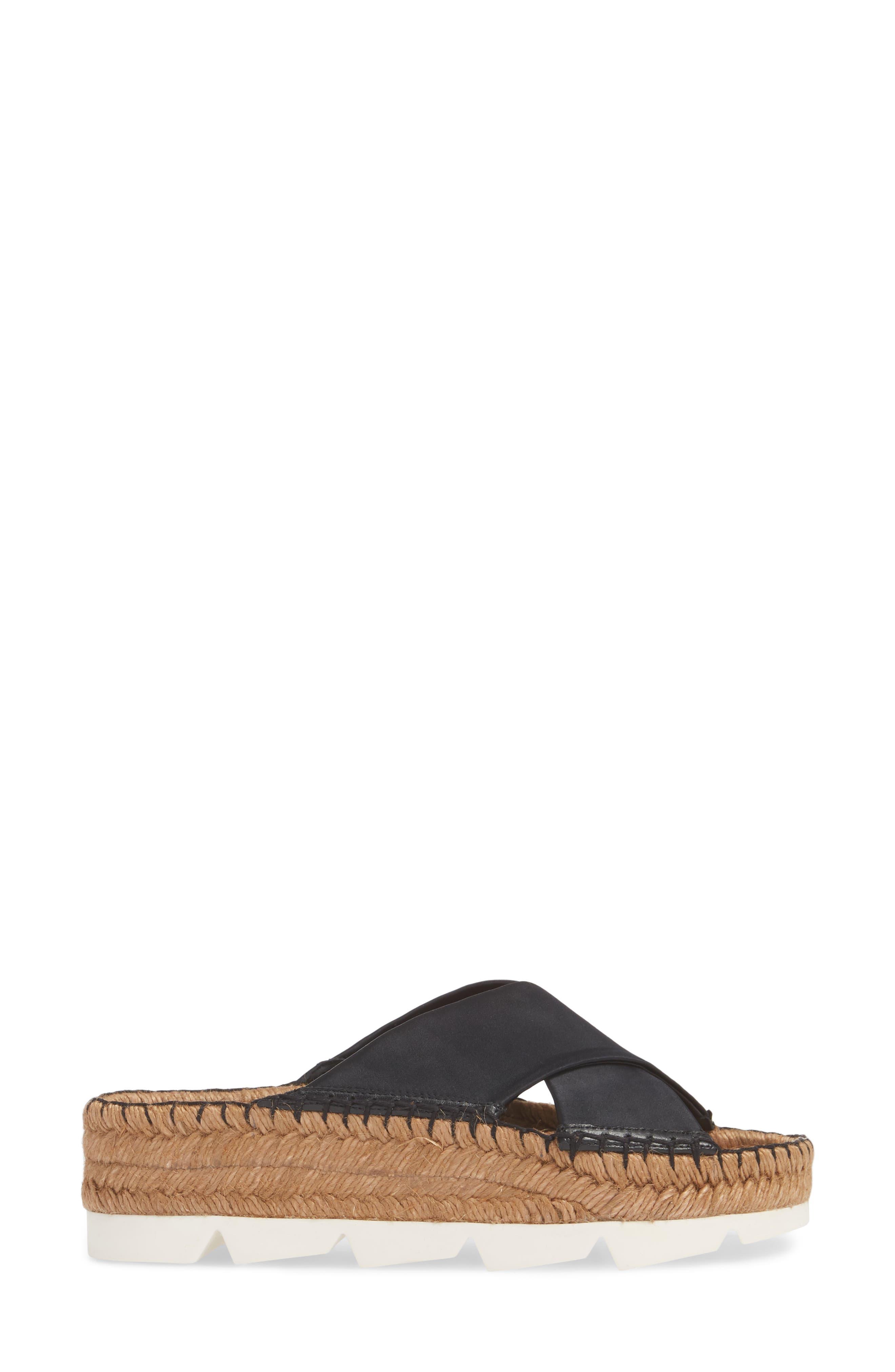 Danae Double Strap Espadrille Slide Sandal,                             Alternate thumbnail 3, color,                             Black