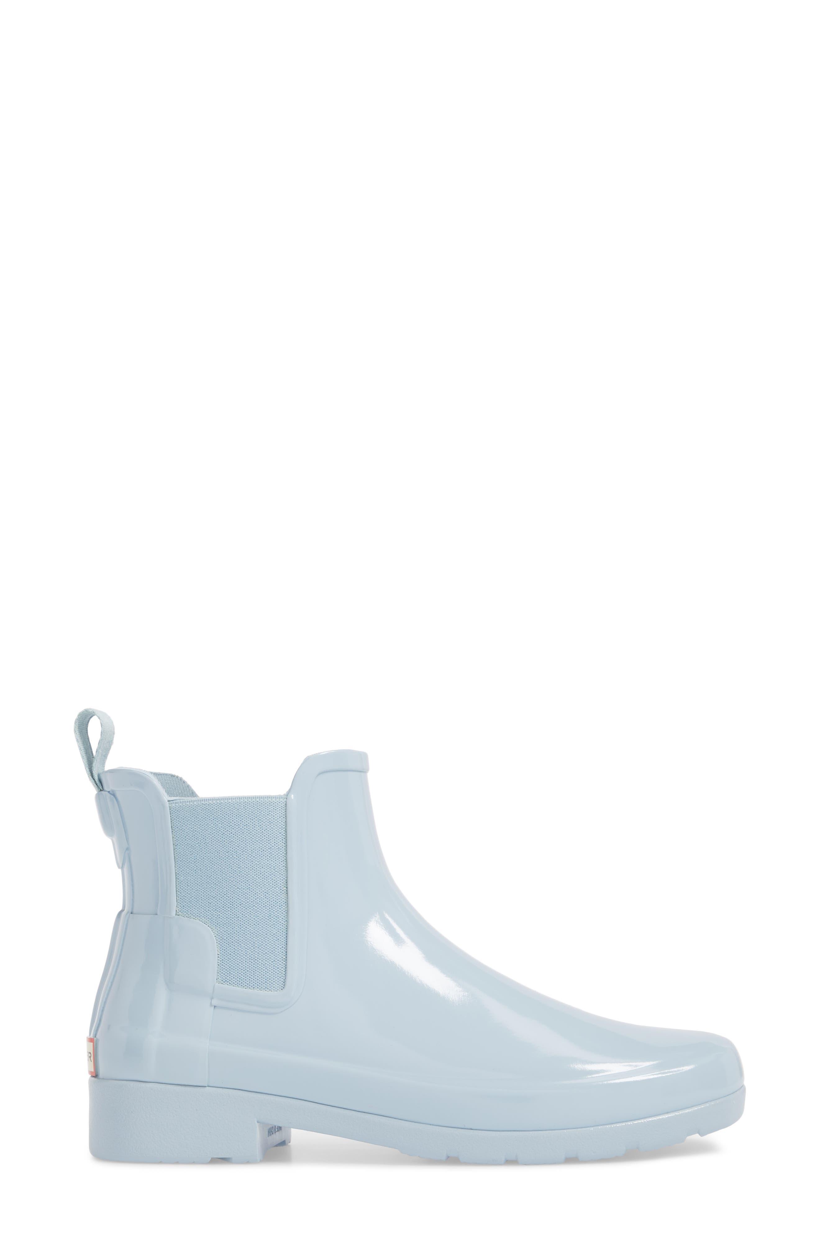 'Original Refined' Chelsea Rain Boot,                             Alternate thumbnail 3, color,                             Fountain Blue