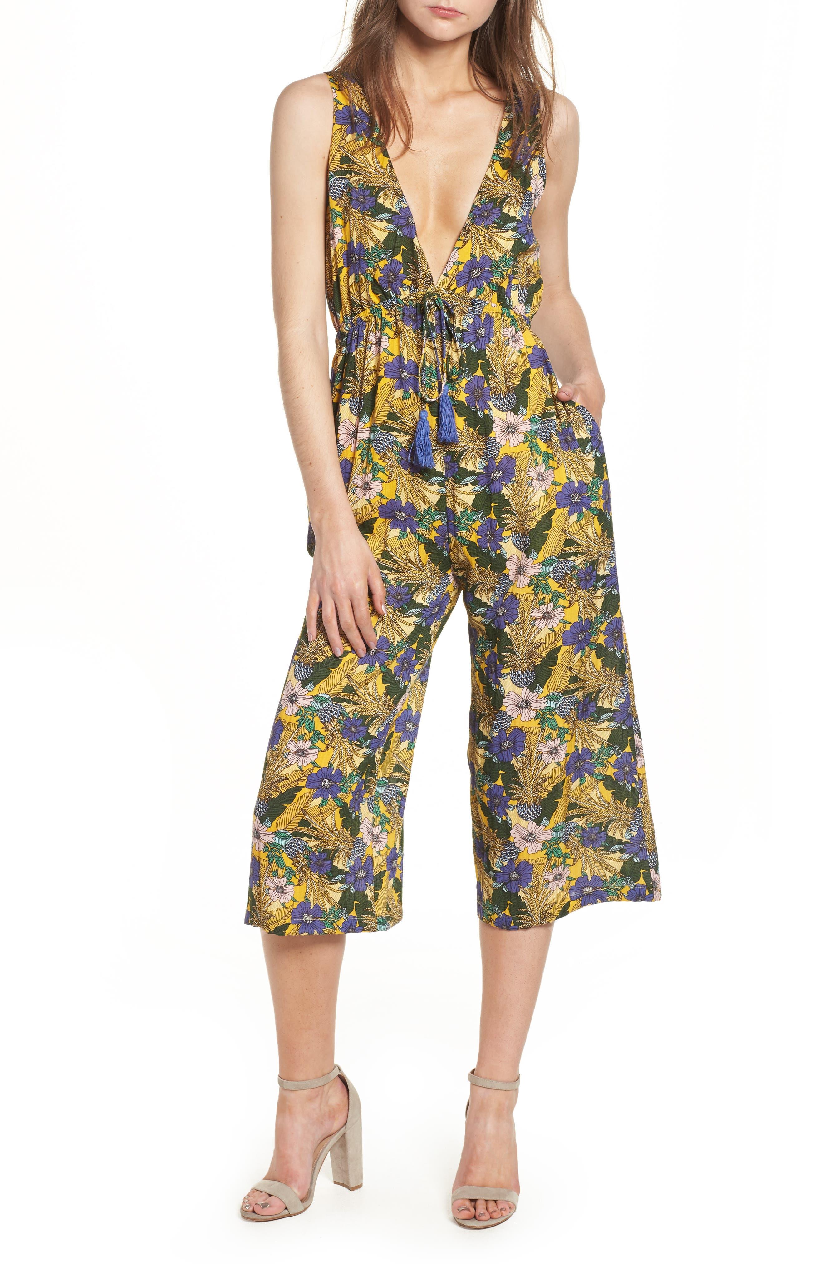 Isla Print Jumpsuit,                         Main,                         color, Yellow Multi